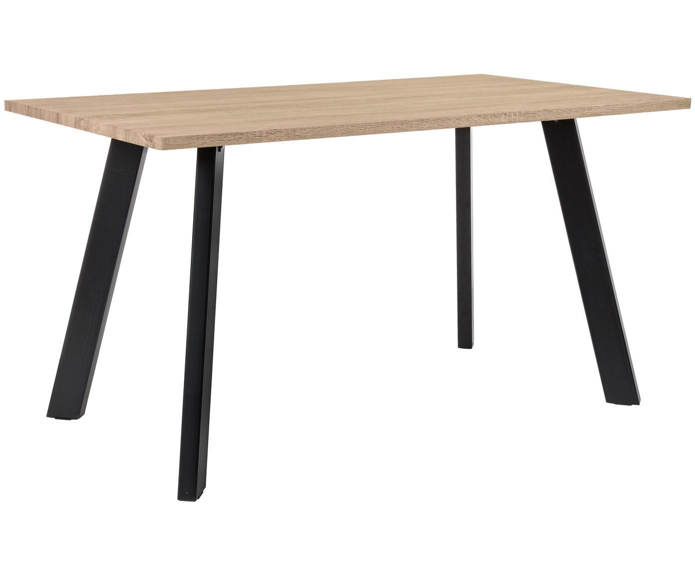 Mesa de comedor en roble Henry, Tablero: fibra de densidad media (, Patas: metal con pintura en polv, Roble, An 140 x F 80 cm