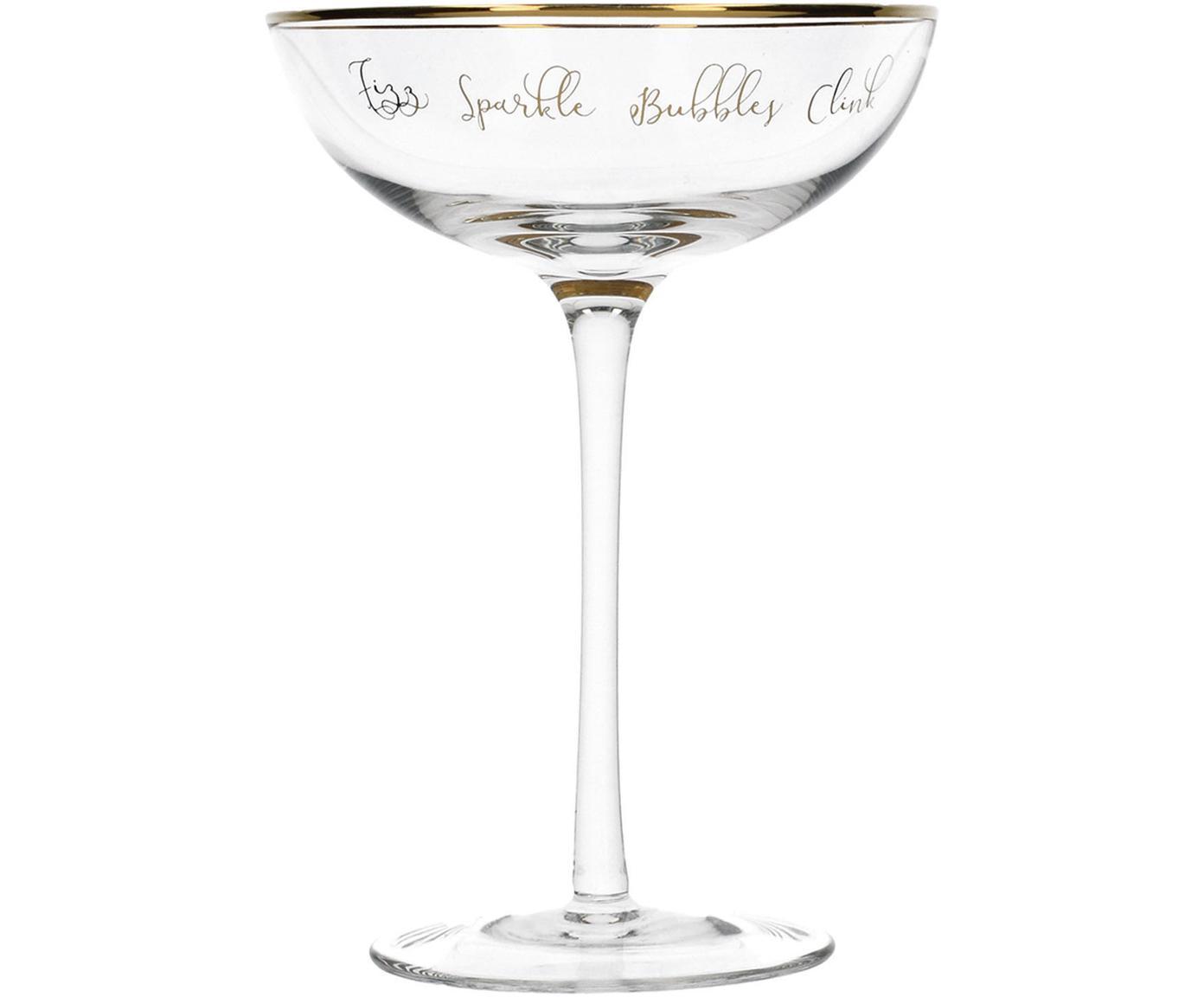Coppe da champagne con scritta Fizz 2 pz, Vetro, Trasparente, dorato, Ø 12 x Alt. 18 cm