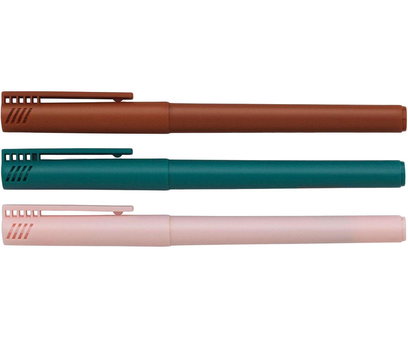 Komplet cienkopisów Mix, 3 elem., Tworzywo sztuczne, Niebieski, czerwony, blady różowy, D 14 cm