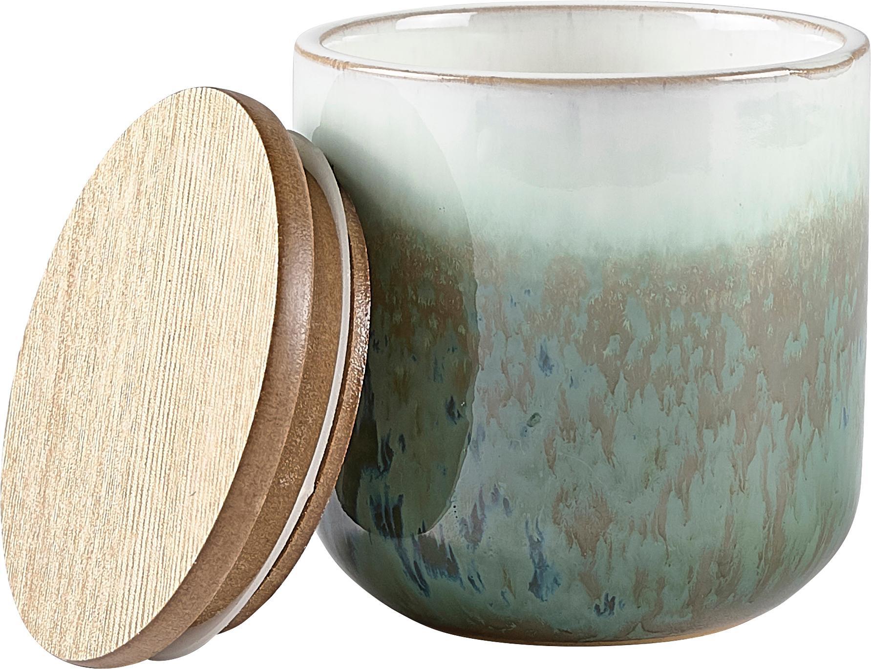 Duftkerze Cactus Blossom, Behälter: Keramik, Grüntöne, Beige, Weiß, Ø 9 x H 9 cm