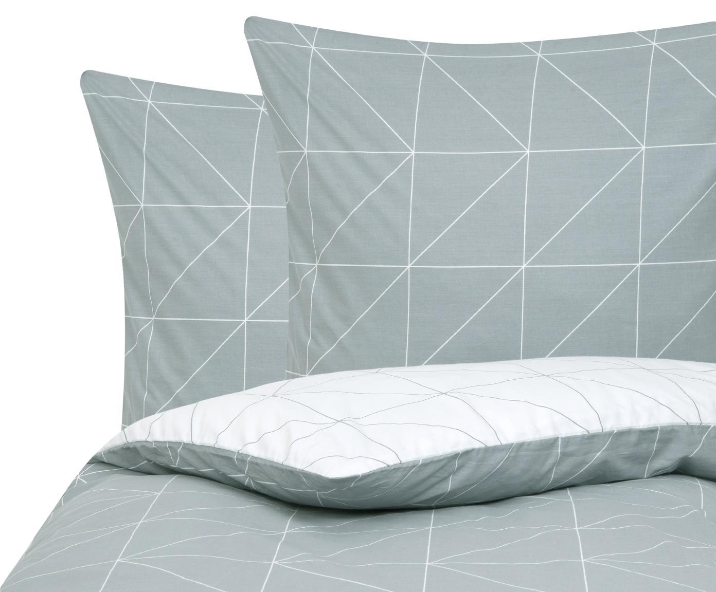 Baumwoll-Wendebettwäsche Marla mit grafischem Muster, Webart: Renforcé Fadendichte 144 , Grau, Weiß, 240 x 220 cm + 2 Kissen 80 x 80 cm