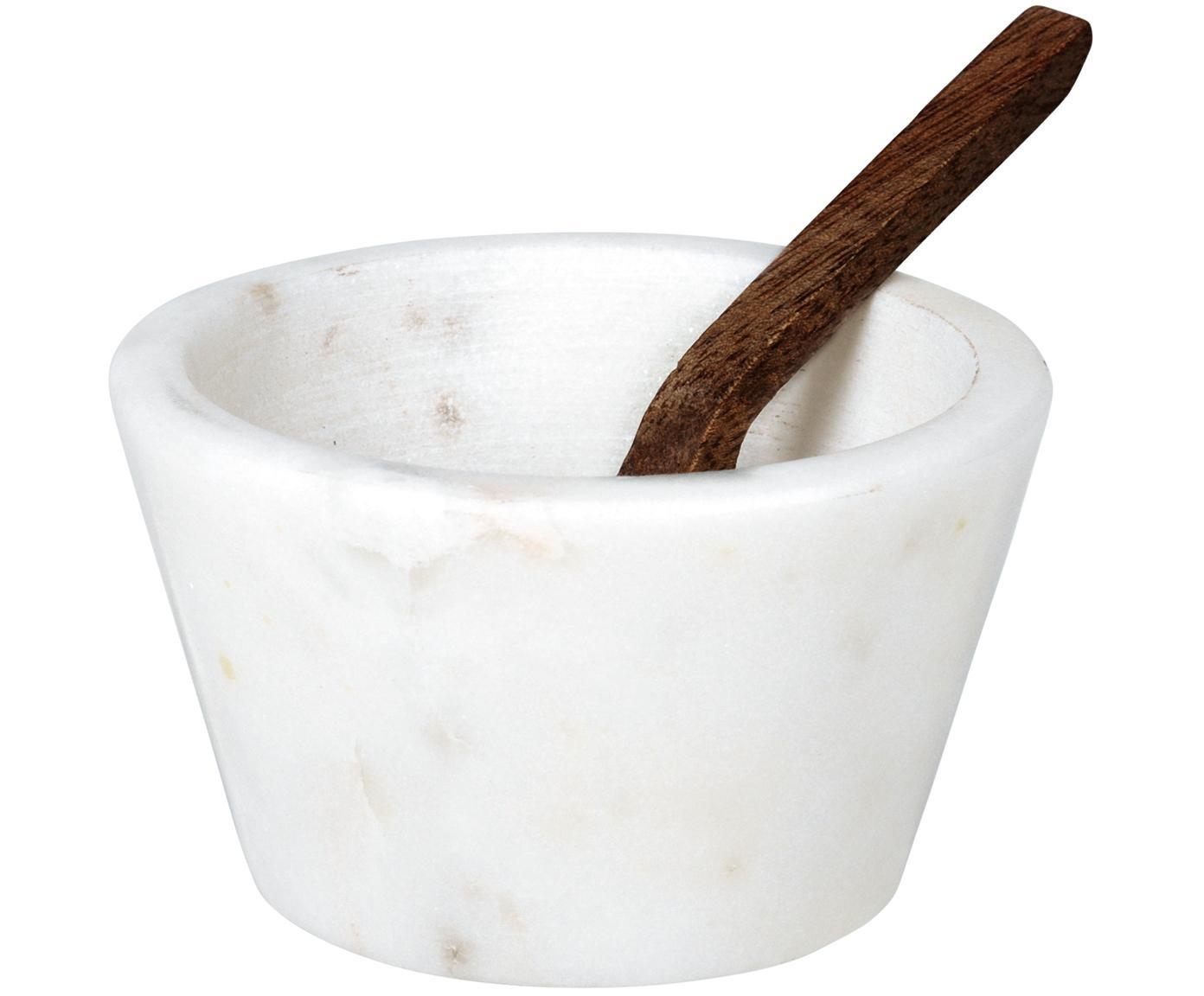 Ciotola in marmo Marble, Ciotola: marmo, Cucchiaio: legno di Sheesham, Bianco marmorizzato, legno di Sheesham, Ø 7 x Alt. 4 cm