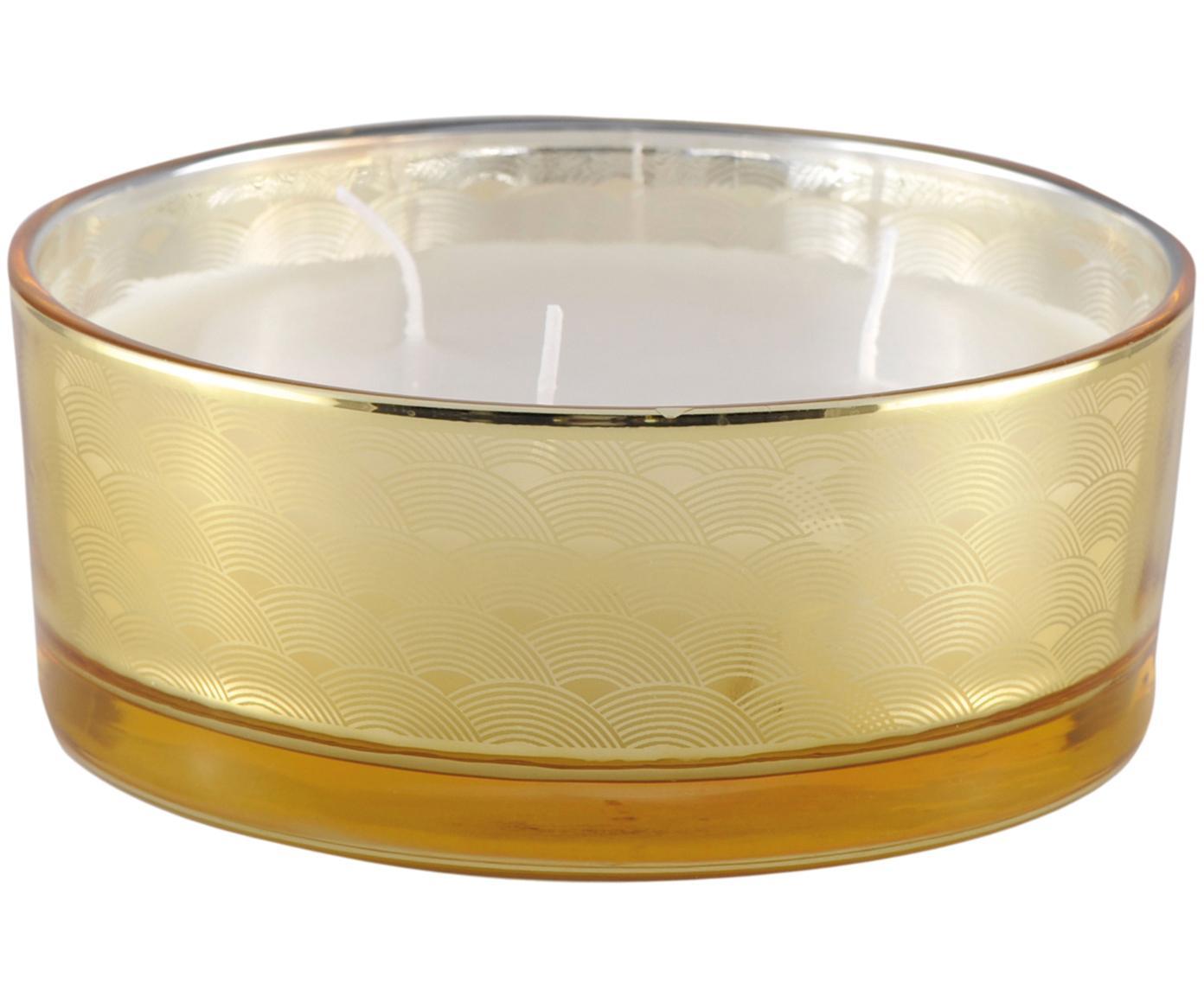 Dreidochtkerze Sunny (Vanille), Behälter: Glas, Bernsteinfarben, transparent, Goldfarben, Ø 15 x H 6 cm