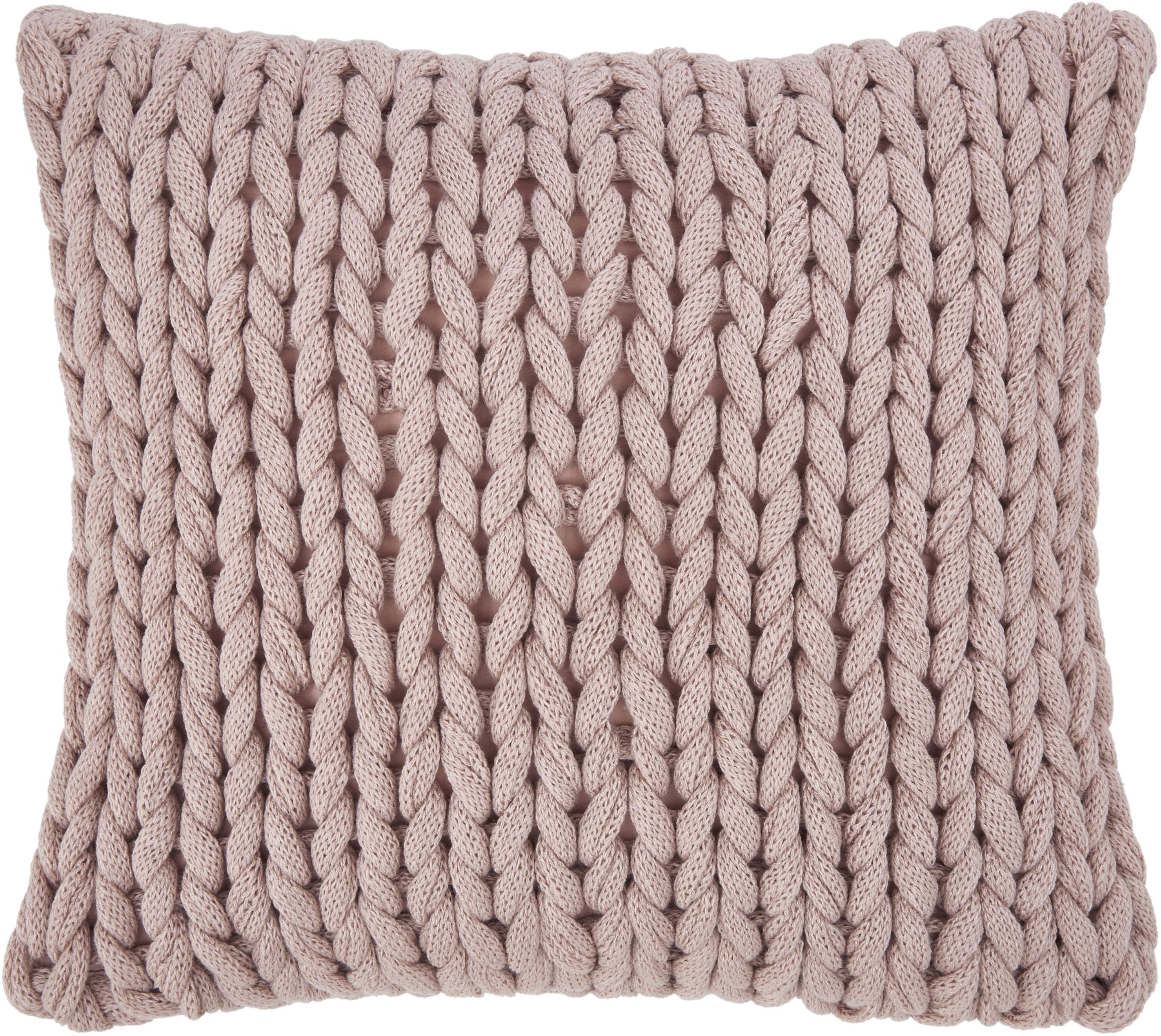 Plaid a maglia grossa rosa cipria Adyna, 100% poliacrilico, Rosa cipria, Larg. 45 x Lung. 45 cm