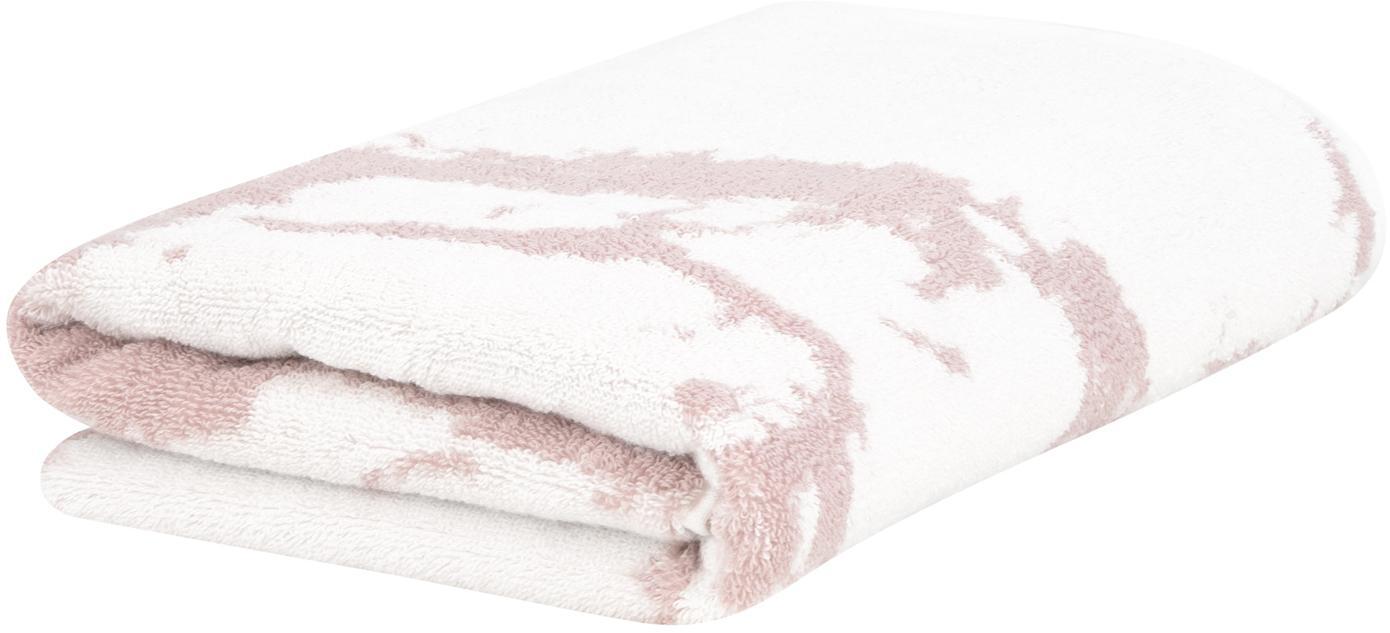 Handdoek Malin met marmer patroon, 100% katoen, middelzware kwaliteit, 550 g/m², Roze, crèmewit, Gastenhanddoek