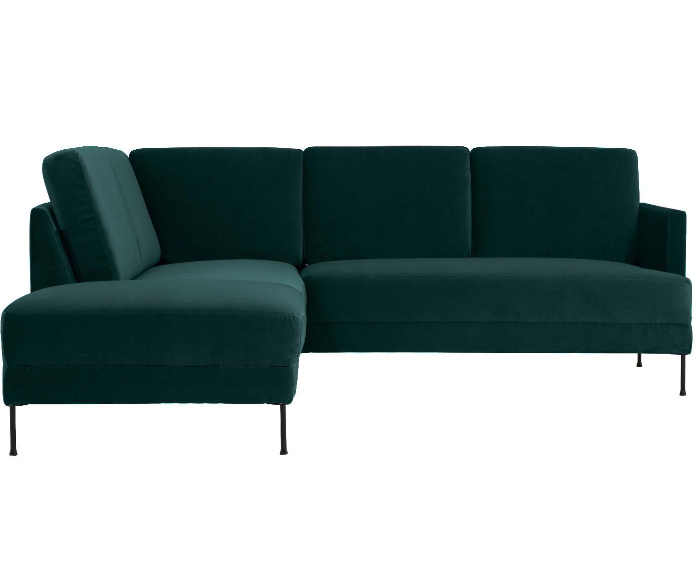 Sofa narożna z aksamitu Fluente, Tapicerka: aksamit (wysokiej jakości, Stelaż: lite drewno sosnowe, Nogi: metal lakierowany, Ciemnozielony aksamit, S 221 x G 200 cm