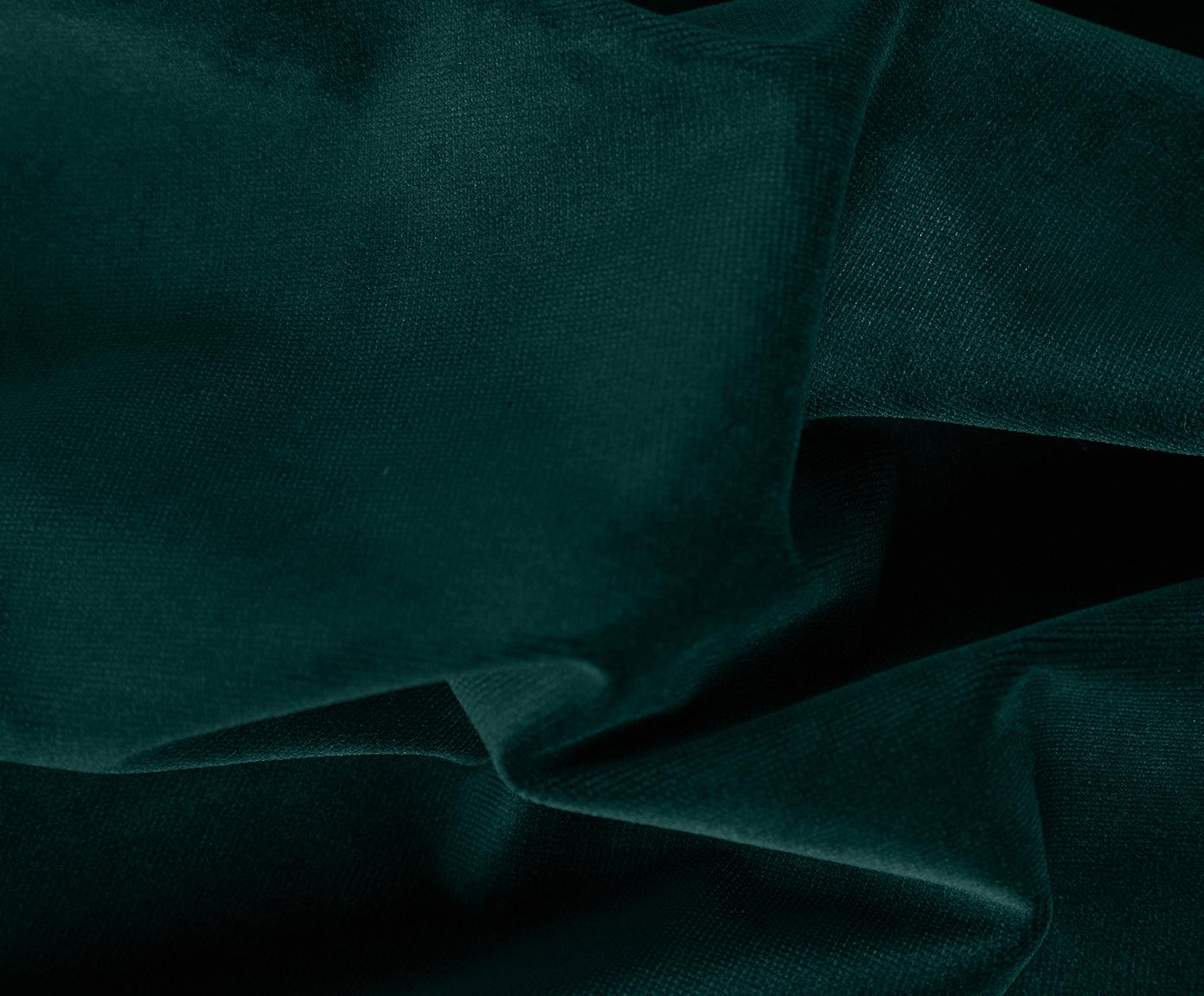 Fluwelen hoekbank Fluente, Bekleding: fluweel (hoogwaardig poly, Frame: massief grenenhout, Poten: gelakt metaal, Donkergroen, B 221 x D 200 cm