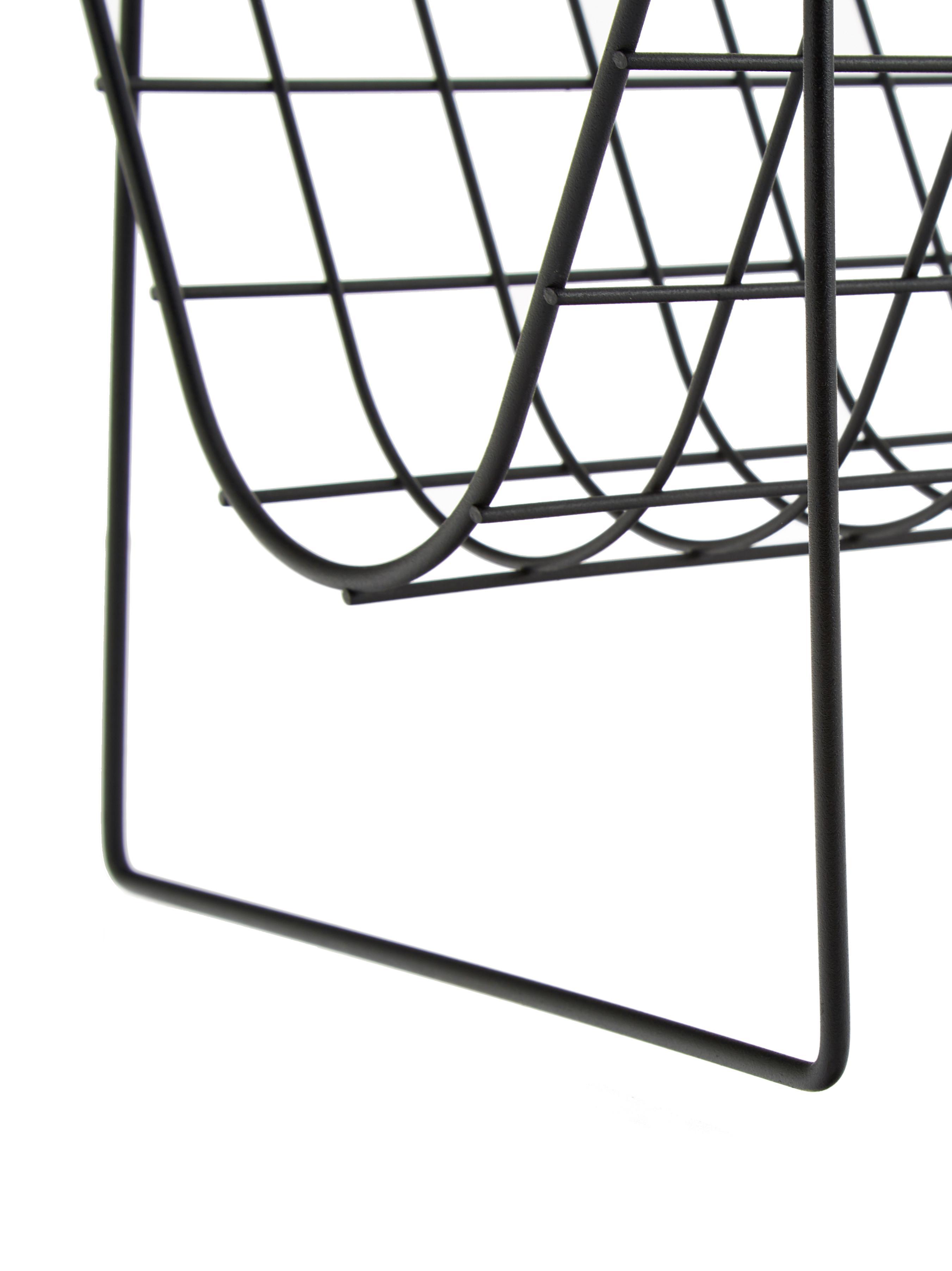Tijdschriftenhouder Brando, Gecoat staal, Zwart, 40 x 29 cm