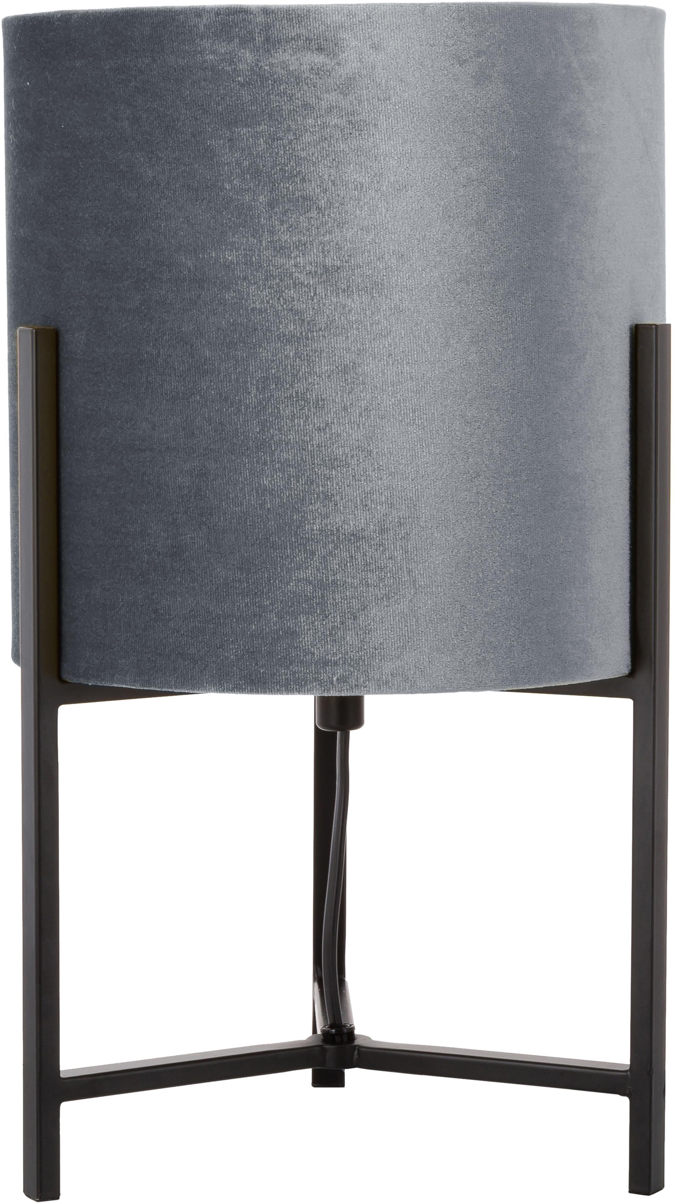 Samt-Tischleuchte Piper, Lampenschirm: Polyestersamt, Lampenschirm: GrauLampenfuß: Schwarz, matt, Ø 22 x H 38 cm