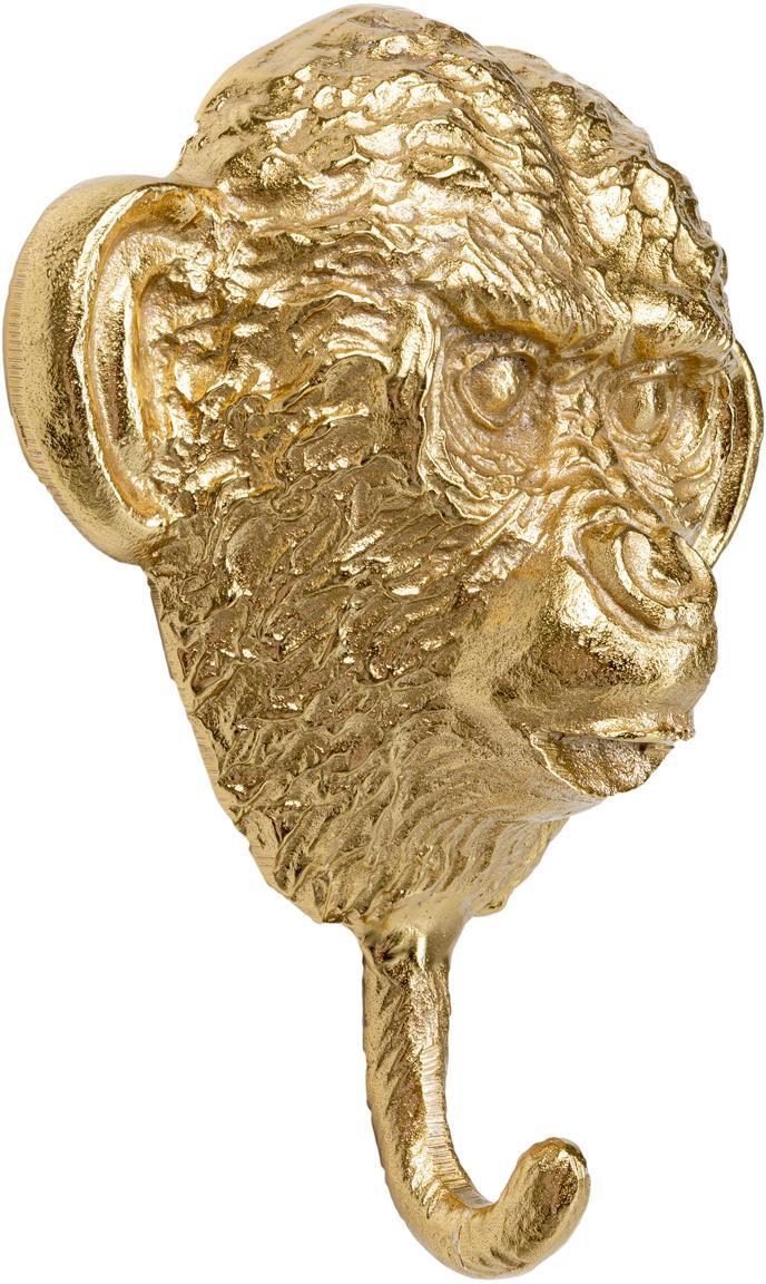 Handgefertigter Wandhaken Monkey, Aluminium, vermessingt, Messing, 21 x 26 cm