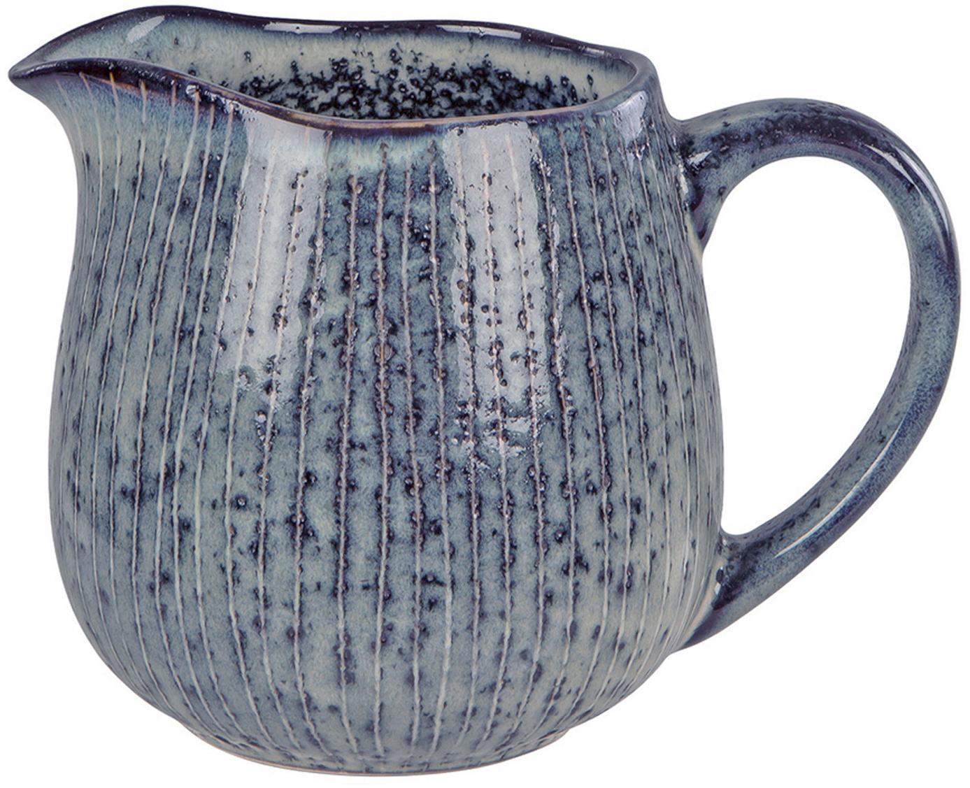 Brocca latte fatta a mano Nordic Sea, Gres, Tonalità grigie e blu, Ø 12 x Alt. 9 cm