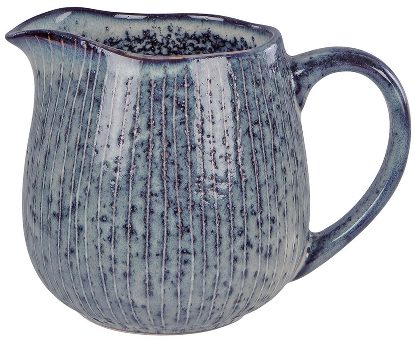Ręcznie wykonany dzbanek do mleka Nordic Sea, Kamionka, Szary i odcienie niebieskiego, Ø 12 x W 9 cm