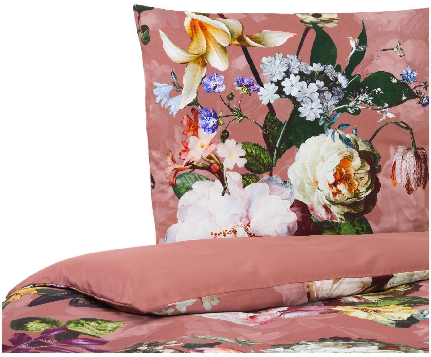Baumwollsatin-Bettwäsche Fleur mit Blumen-Muster, Webart: Satin Fadendichte 209 TC,, Altrosa, 135 x 200 cm + 1 Kissen 80 x 80 cm