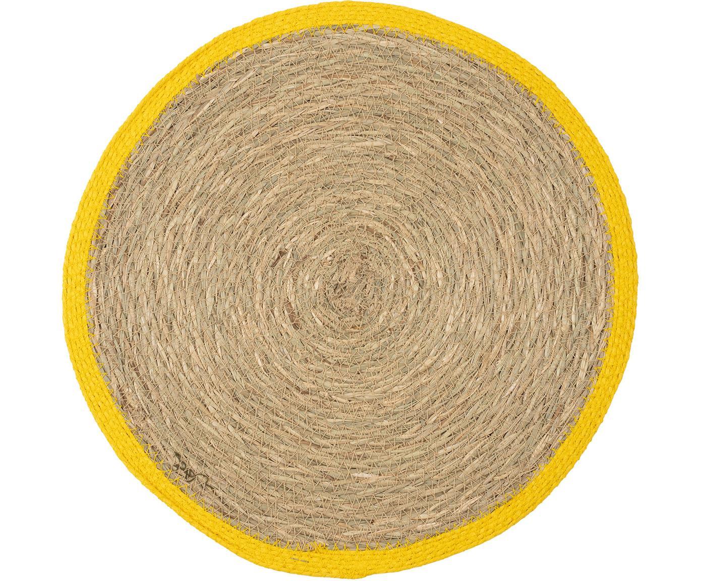 Runde Tischsets Boho, 2 Stück, Seegras, Beige, Gelb, Ø 35 cm