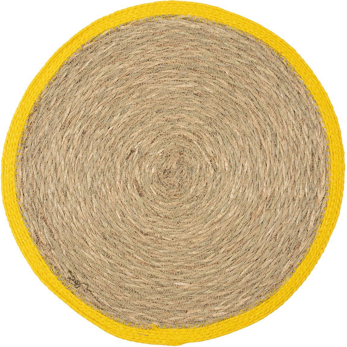 Runde Seegras-Tischsets Boho mit gelbem Rand, 2 Stück, Seegras, Beige, Gelb, Ø 35 cm