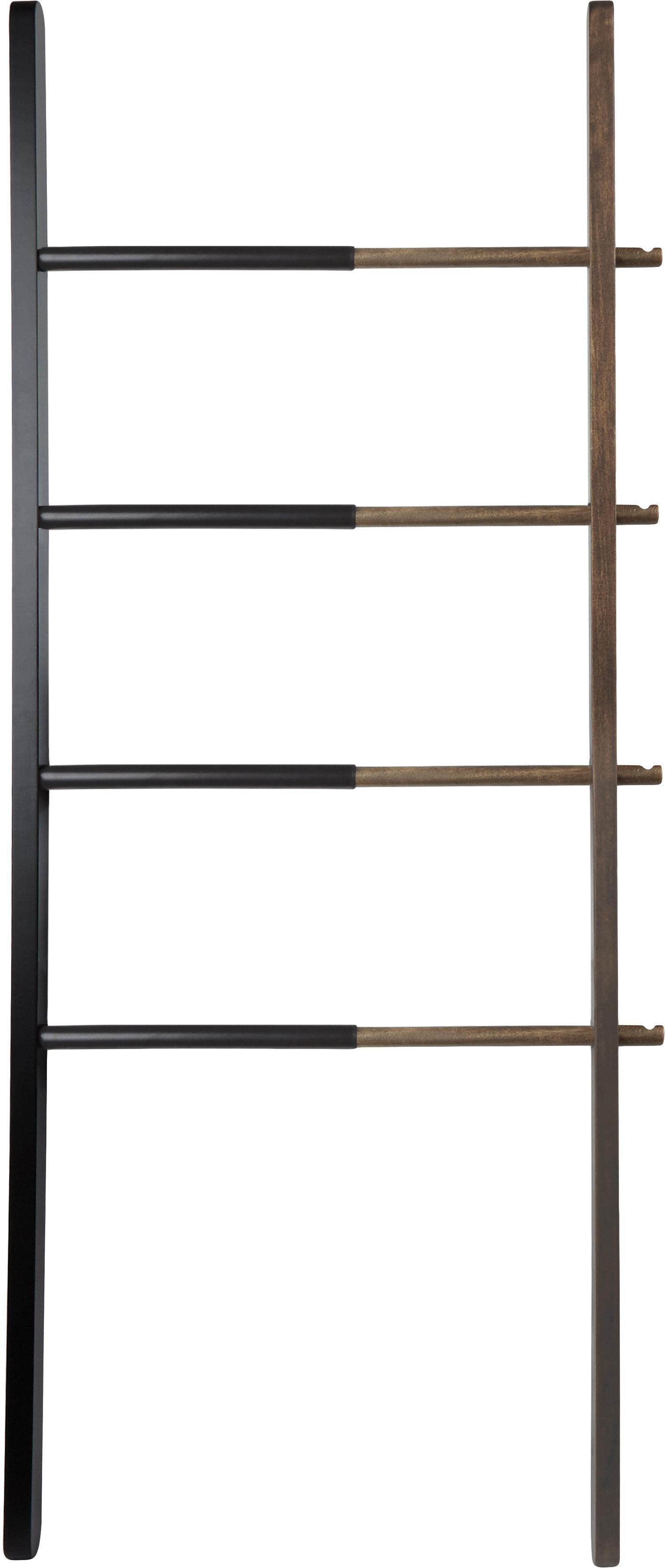 Design ladderrek Hub, Gebeitst essenhout, gelakt staal, Zwart, donkerbruin, 67 x 152 cm