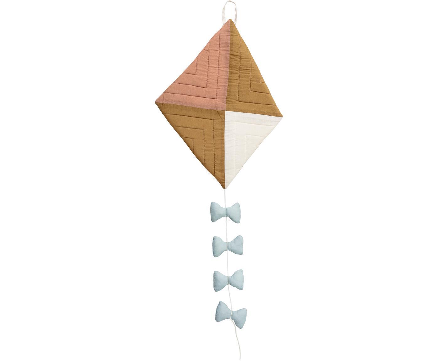 Wandobjekt Kite, Bezug: Baumwolle, Blau, Braun, Creme, 27 x 37 cm