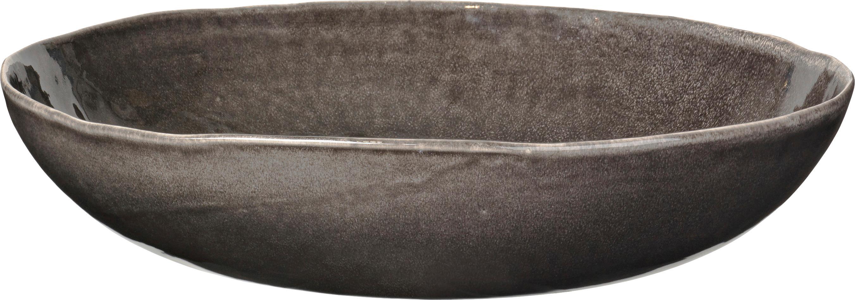 Ciotola da portata fatta a mano Nordic Coal, Terracotta, Marrone scuro, Ø 34 x Alt. 8 cm