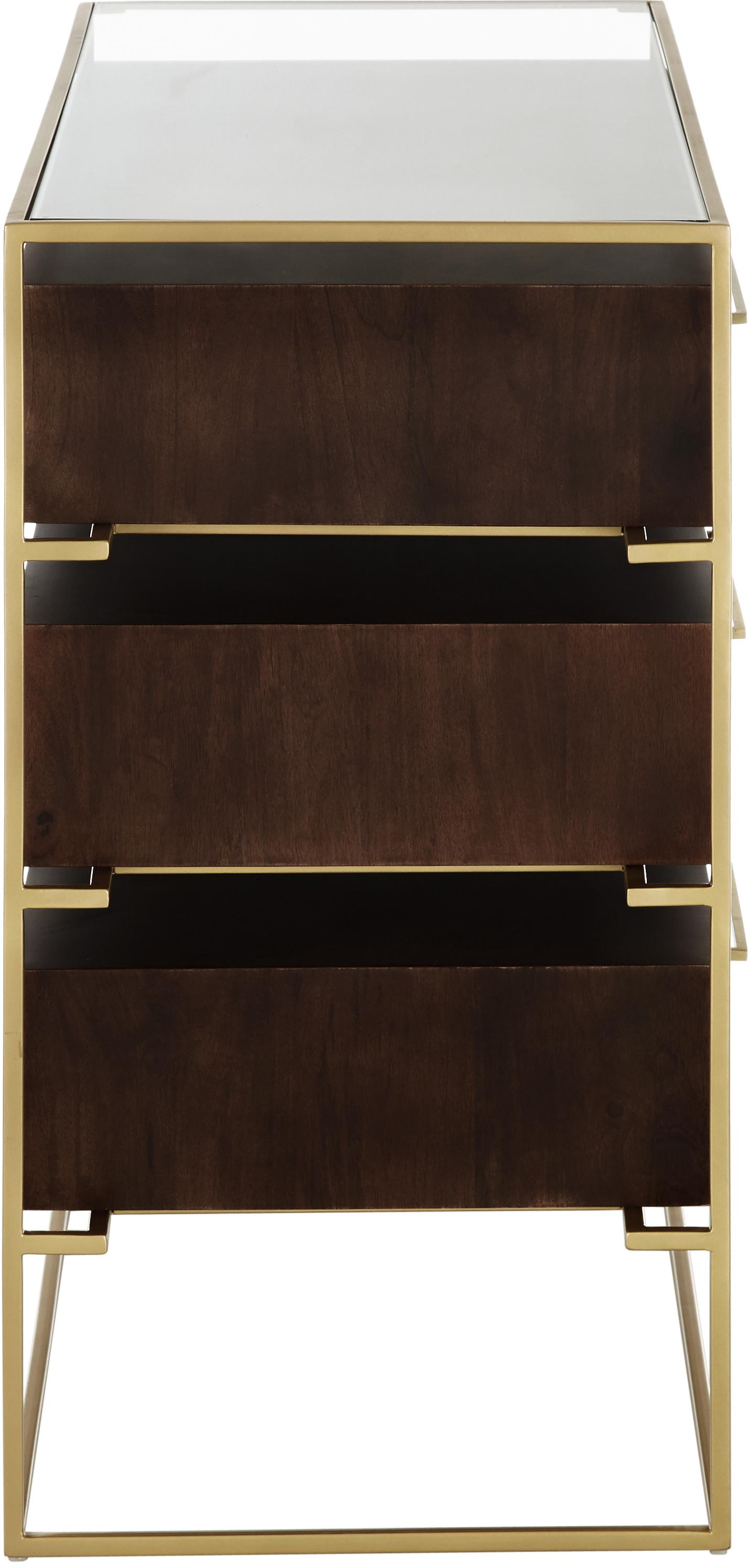 Szafka z szufladami ze szklanym blatem Lyle, Drewno mangowe, ciemny lakierowany, S 100 x D 82 cm