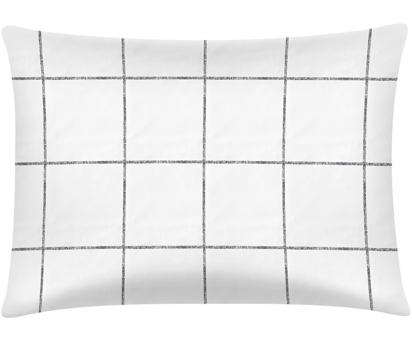 Funda de almohada de percal Juna, Blanco, negro, An 50 x L 70 cm