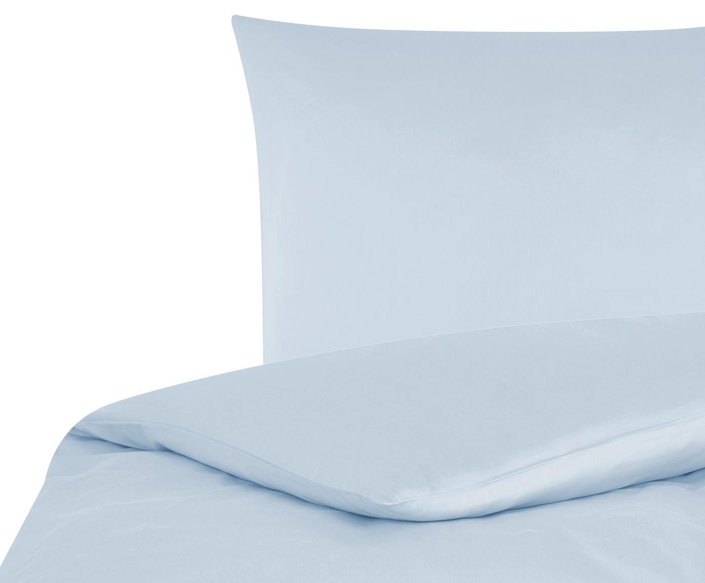 Katoensatijnen dekbedovertrek Comfort, Weeftechniek: satijn, licht glanzend, Lichtblauw, 140 x 200 cm