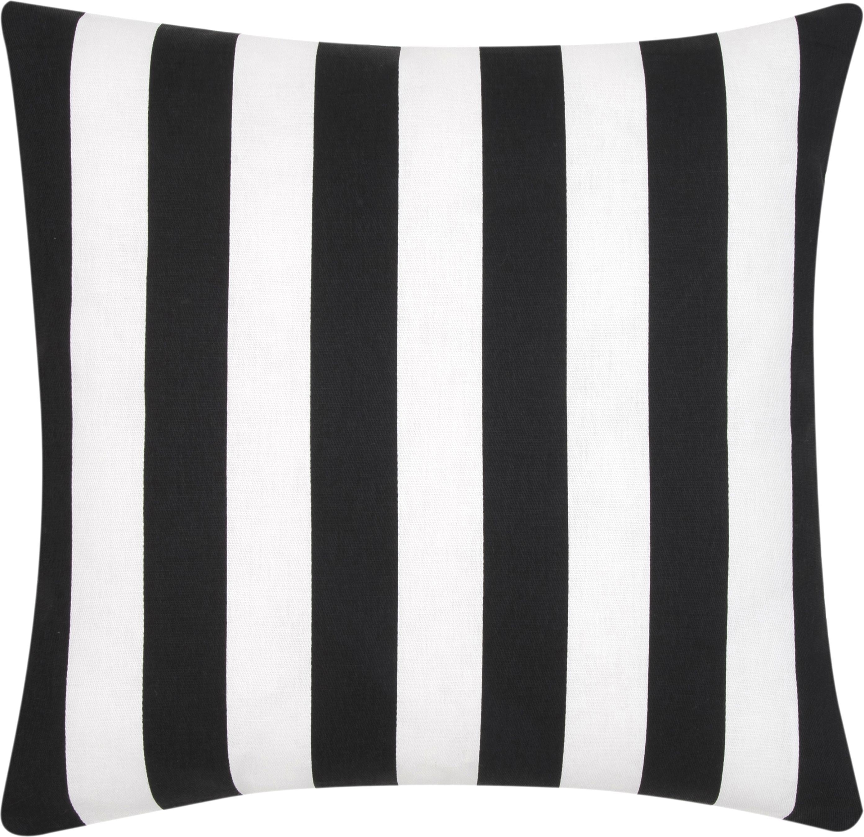 Federa arredo a righe in nero/bianco Timon, Cotone, Nero, bianco, Larg. 45 x Lung. 45 cm