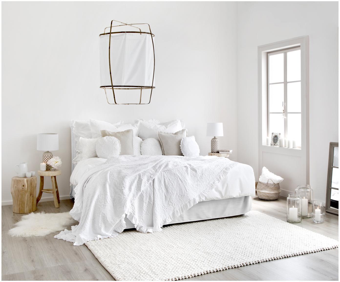 Łóżko kontynentalne premium Violet, Nogi: lite drewno bukowe, lakie, Jasny szary, 200 x 200 cm