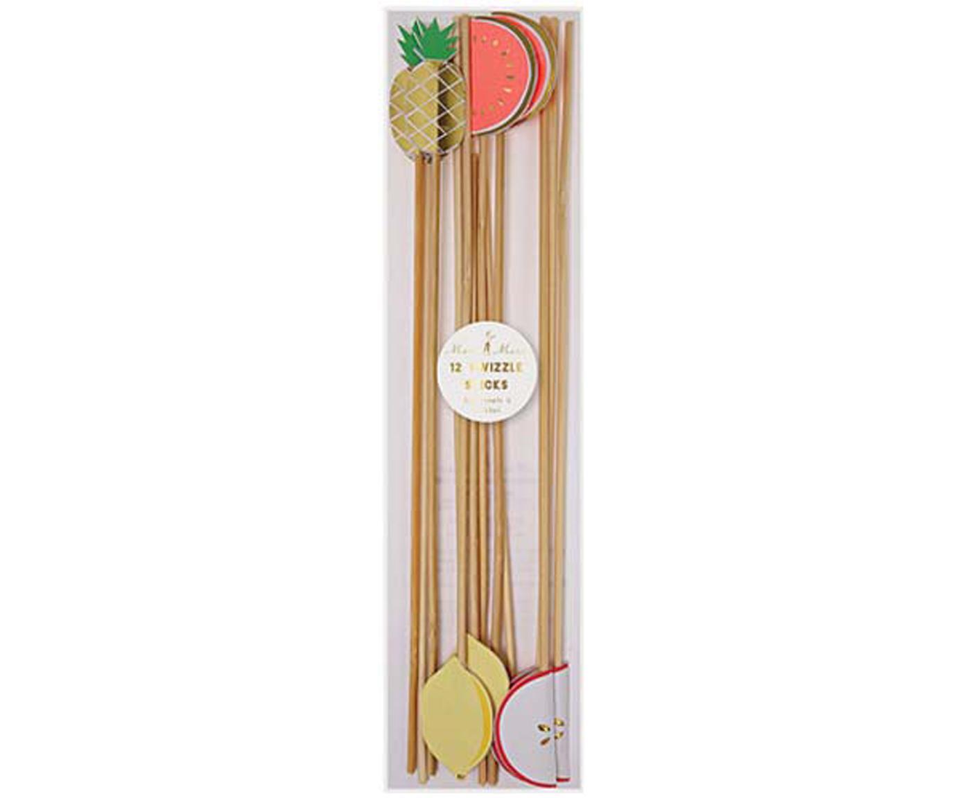Komplet mieszadełek do koktajli Fruit Party, 12 elem., Papier, drewno naturalne, Wielobarwny, D 25 x S 2 cm