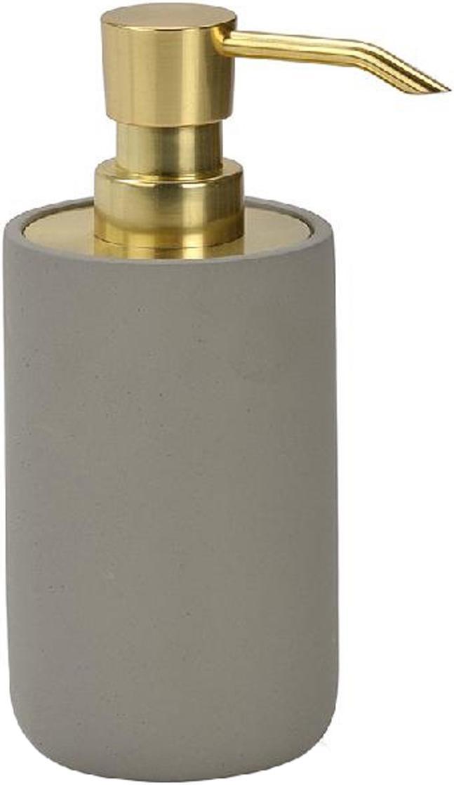 Dispenser sapone in cemento Callin, Contenitore: cemento, Testa della pompa: materiale sintetico, Grigio, dorato, Ø 7 x Alt. 17 cm