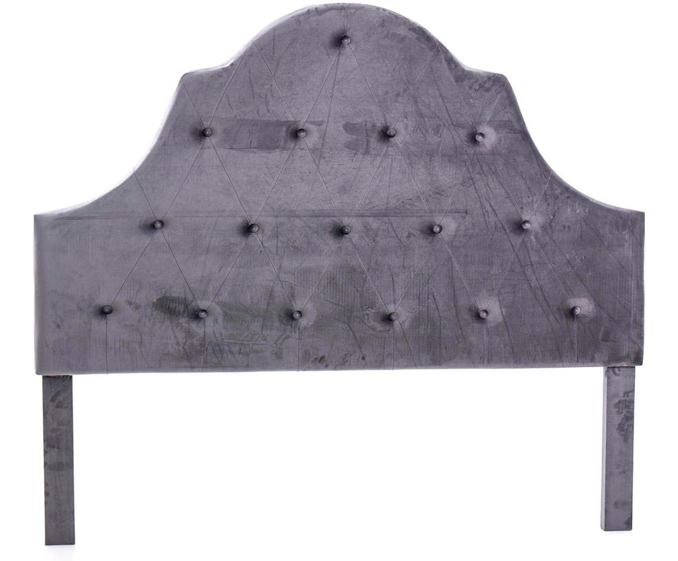 Cabecero de terciopelo Bruno, Tapizado: terciopelo, Estructura: tablero de fibras de dens, Gris topo, An 160 x Al 140 cm