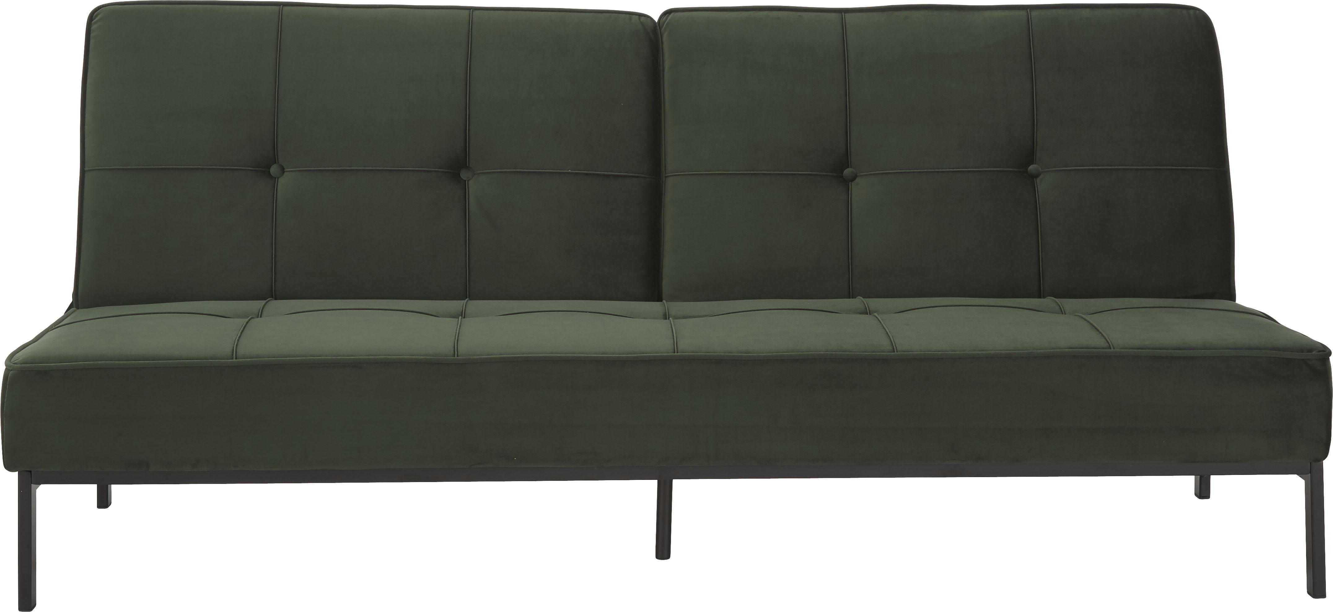 Samt-Schlafsofa Perugia, Bezug: Polyestersamt, Gestell: Metall, pulverbeschichtet, Samt Grün, B 198 x T 95 cm