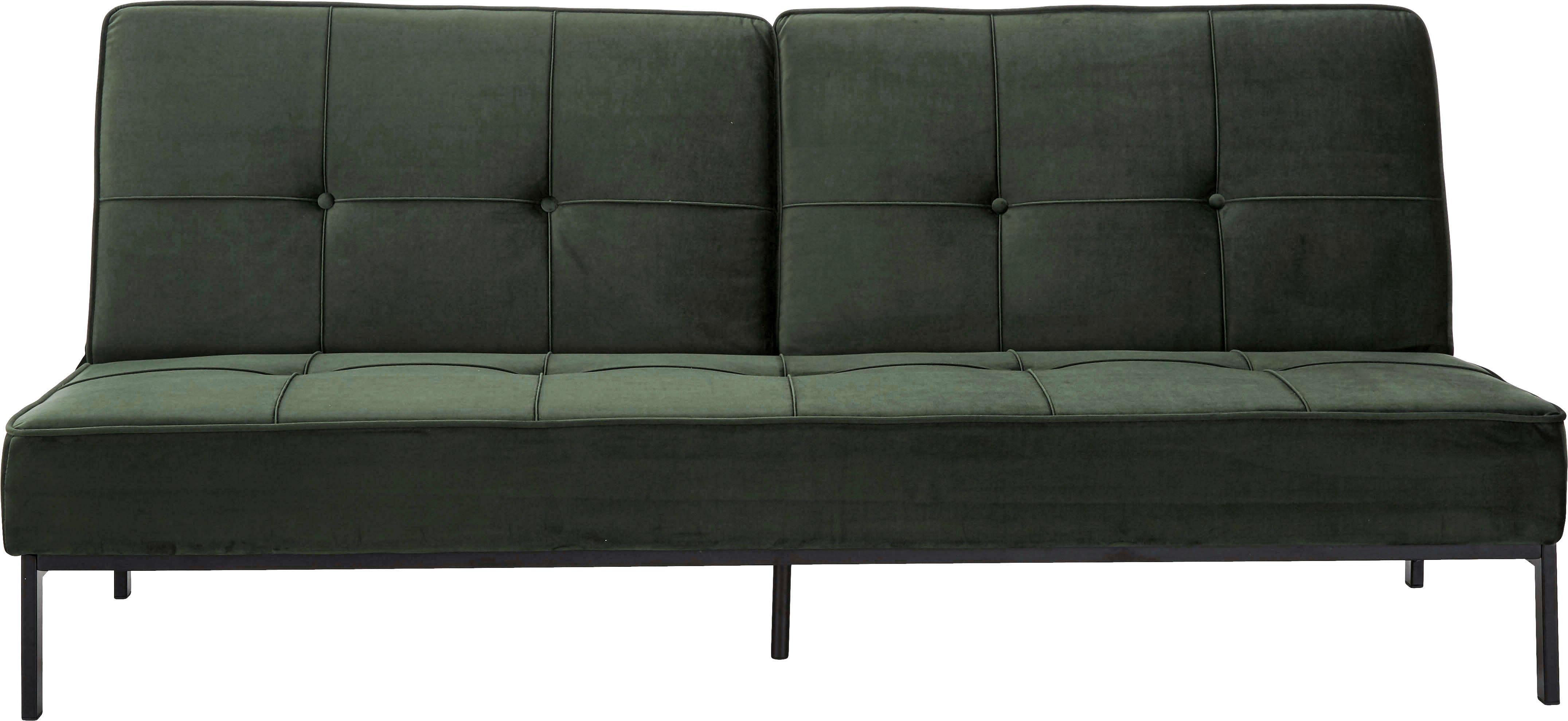 Sofa rozkładana z aksamitu Perugia, Tapicerka: aksamit poliestrowy, Stelaż: metal malowany proszkowo, Aksamitny zielony, S 198 x G 95 cm