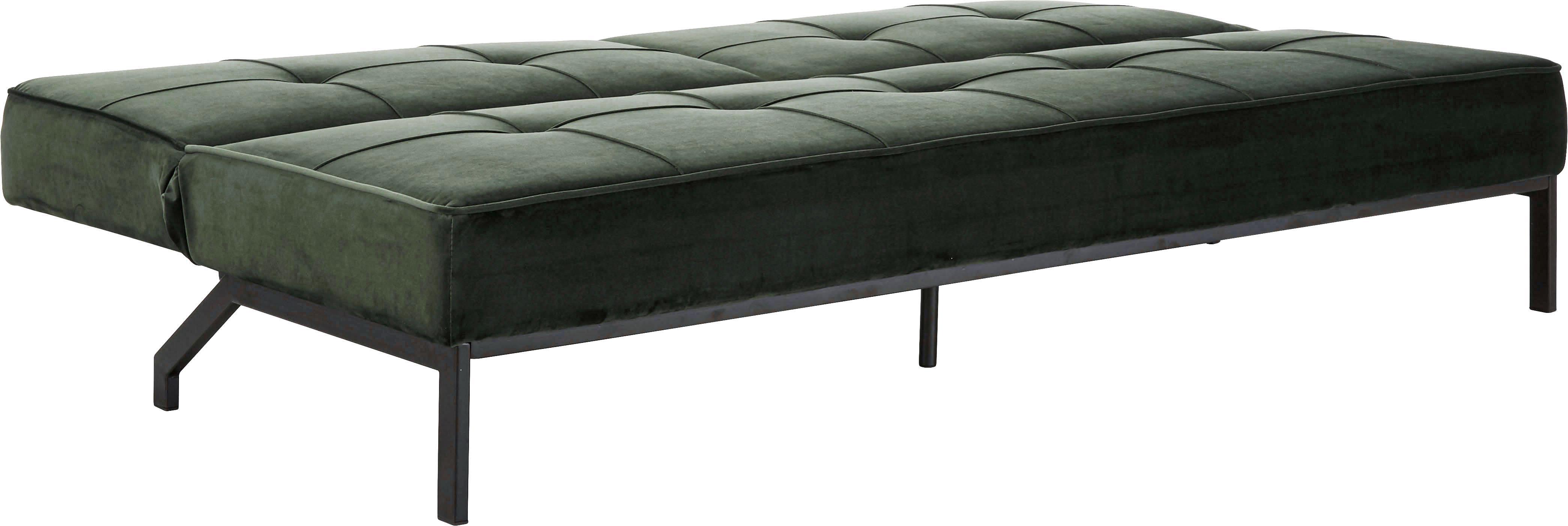Samt-Schlafsofa Perugia in Grün, Bezug: Polyester Der hochwertige, Samt Grün, B 198 x T 95 cm