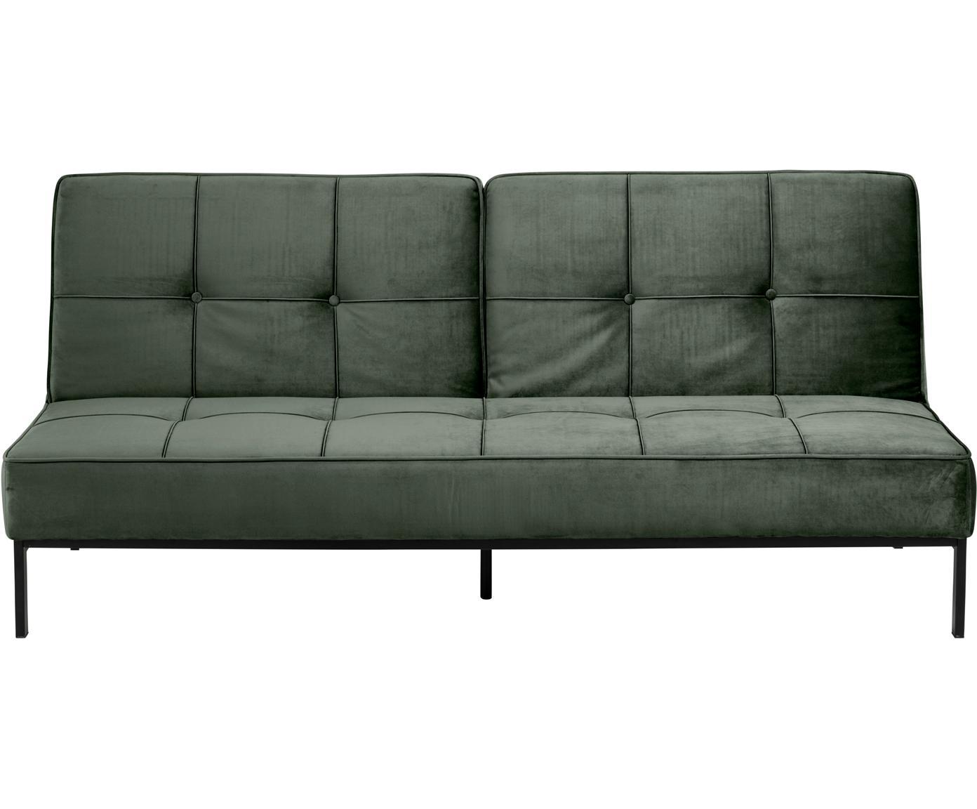 Sofá cama de terciopelo Perugia (3-plazas), Tapizado: terciopelo de poliéster, Estructura: metal con pintura en polv, Terciopelo verde, An 198 x F 95 cm