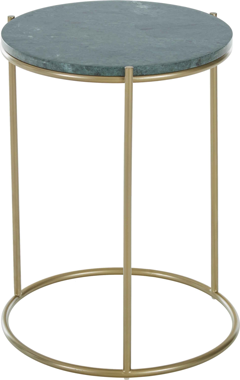 Ronde marmeren bijzettafel Ella, Tafelblad: marmer, Frame: gepoedercoat metaal, Tafelblad: groen marmer. Frame: mat goudkleurig, Ø 40 x H 50 cm