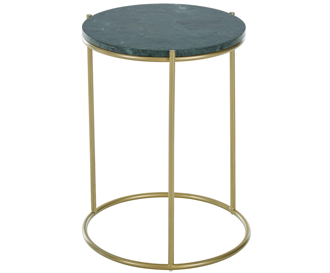 Runder Marmor-Beistelltisch Ella, Tischplatte: Marmor, Gestell: Metall, pulverbeschichtet, Tischplatte: Grüner Marmor Gestell: Goldfarben, matt, Ø 40 x H 50 cm