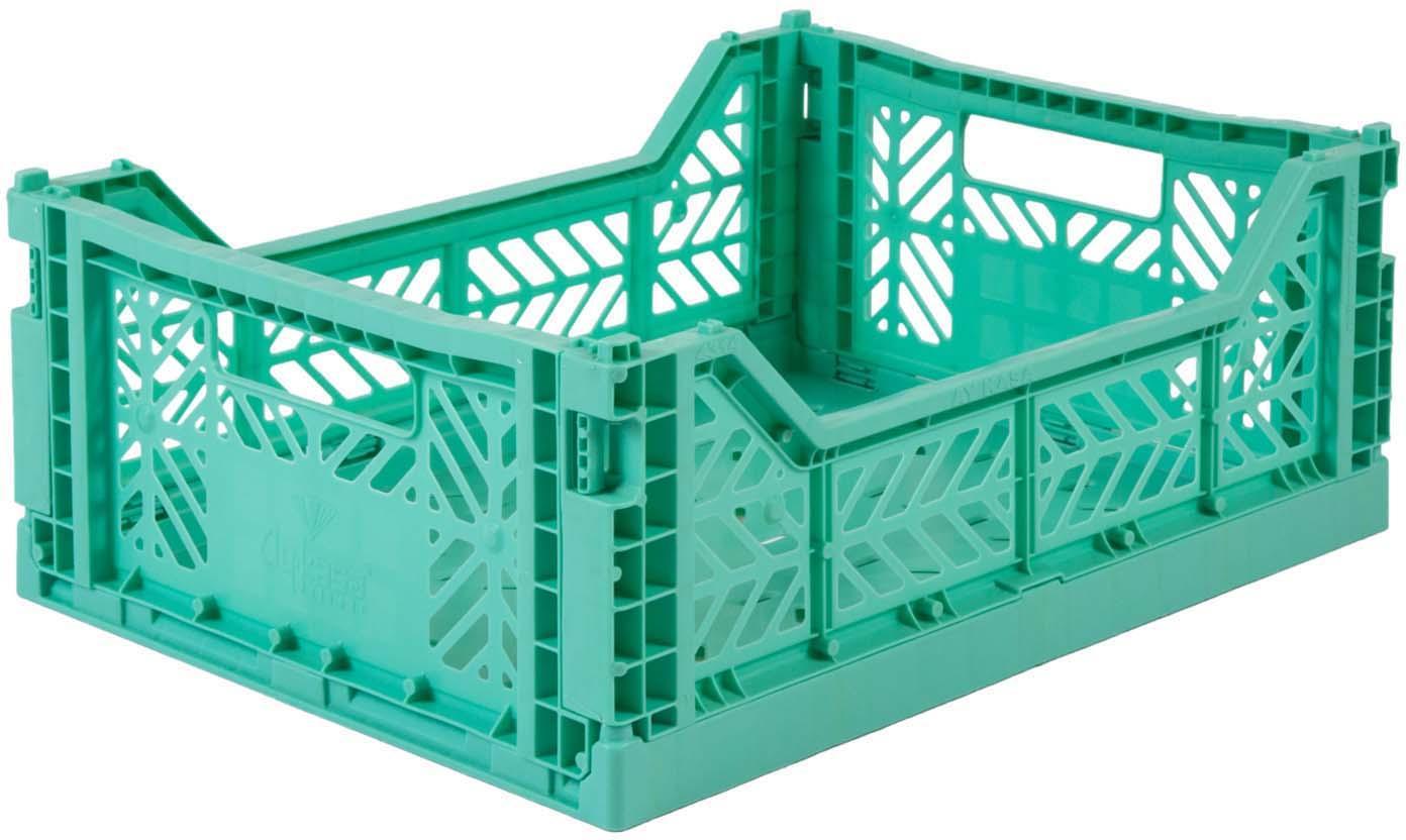 Caja pegable apilable Mint, mediana, Plástico reciclado, Verde menta, An 40 x Al 14 cm