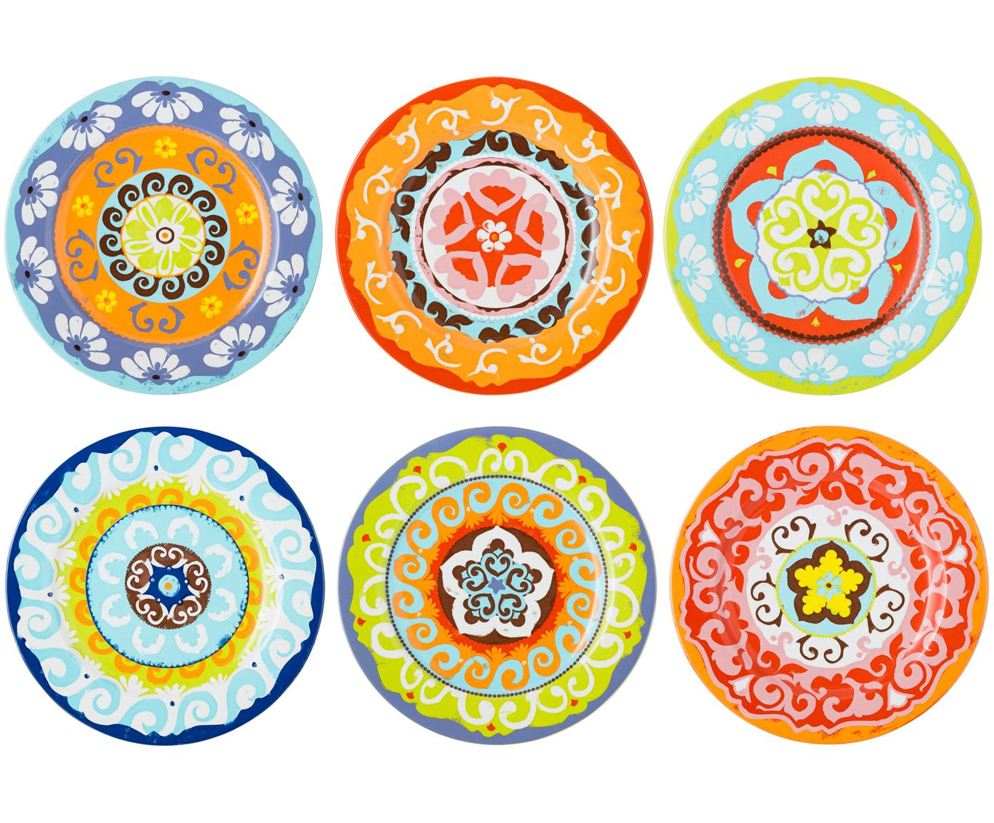 Set de platos llanos Nador, 6pzas., Gres, Multicolor, Ø 27 cm