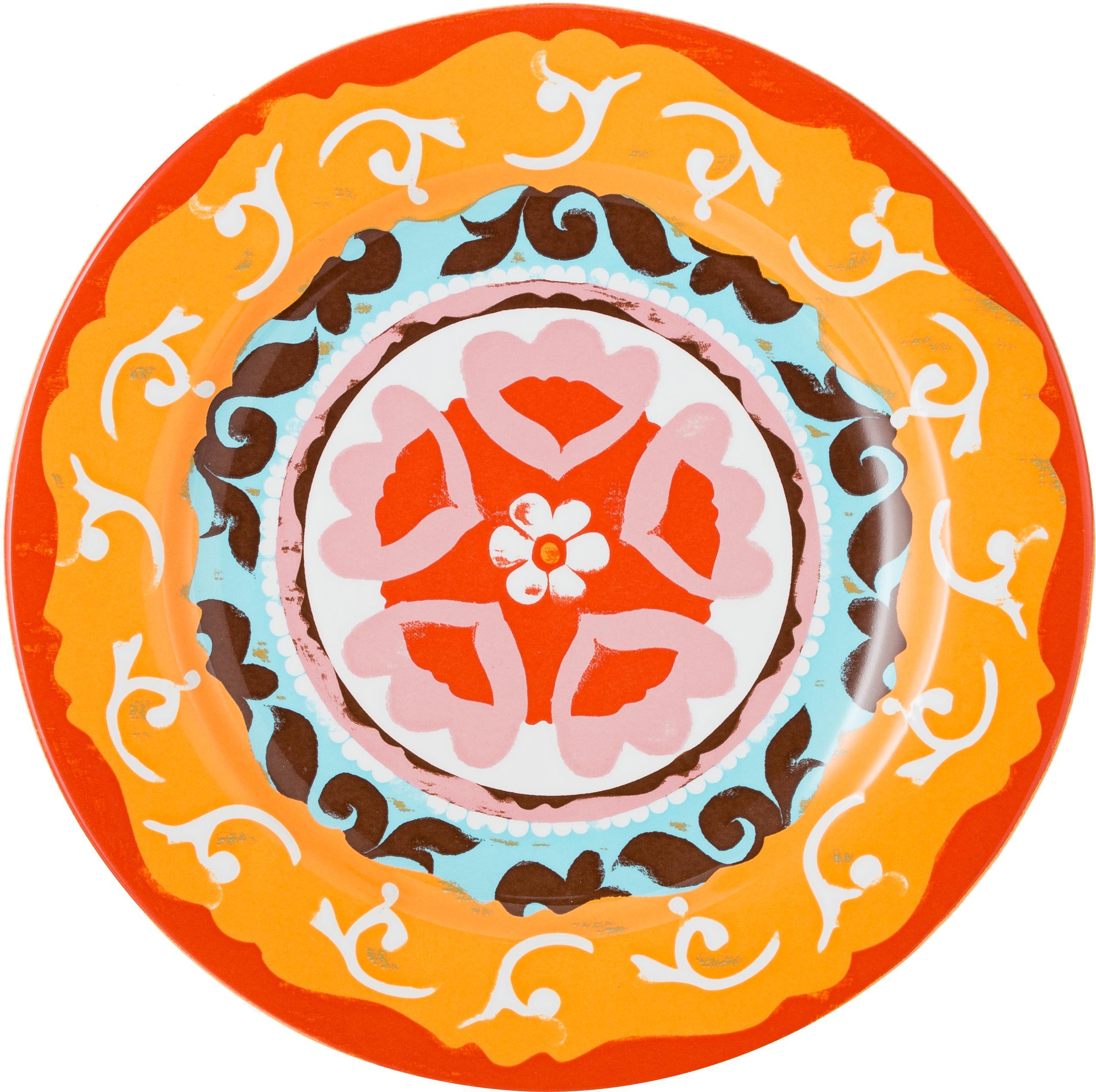 Set 6 piatti piani Nador, Terracotta, Multicolore, Ø 27 cm