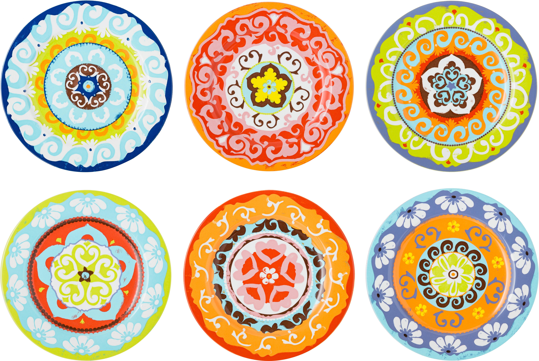 Dinerbordenset Nador, 6-delig, Keramiek, Multicolour, Ø 27 cm