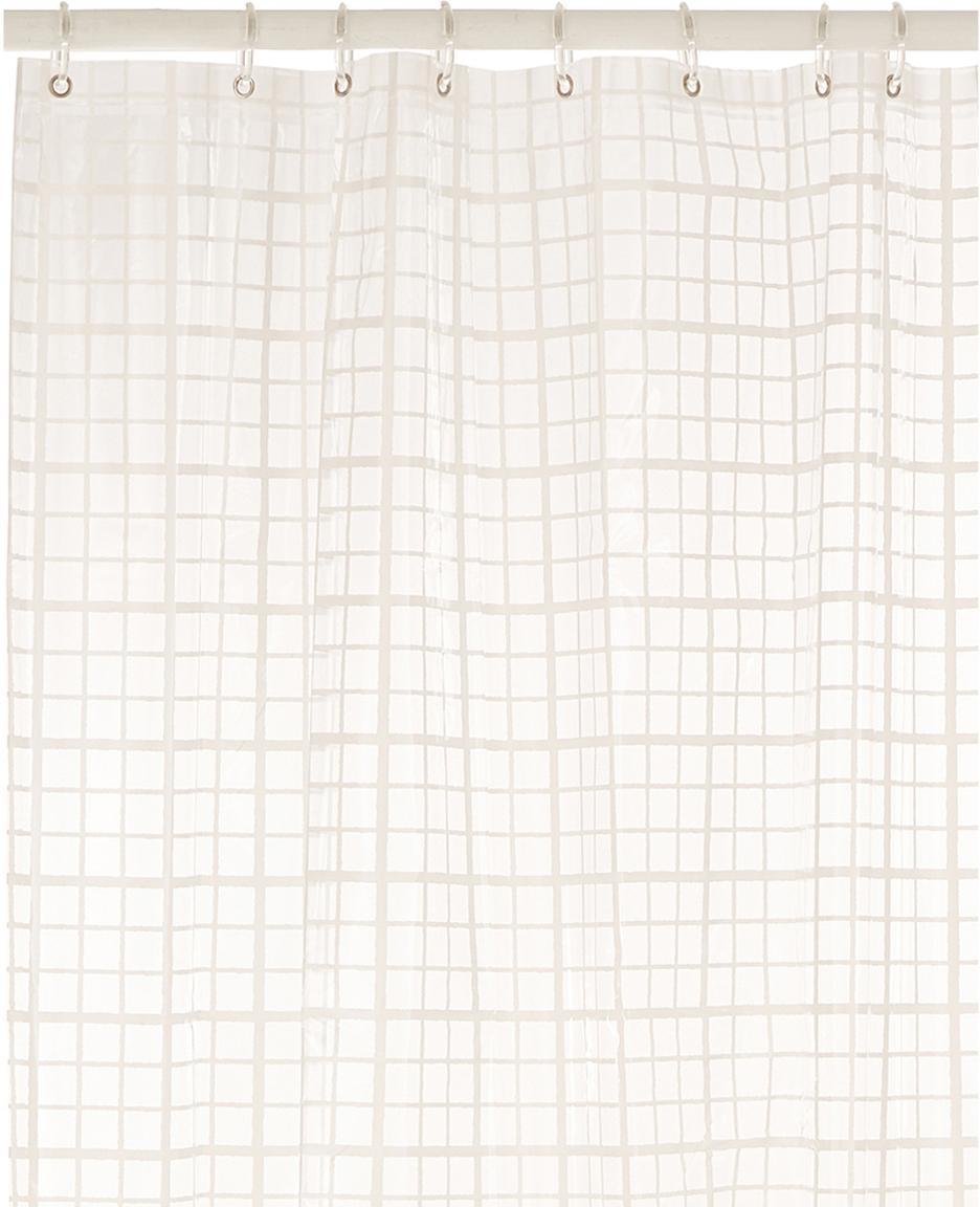 Kort  douchegordijn Porto met ruitjes, semi-transparant, Wit, grijs, 180 x 180 cm
