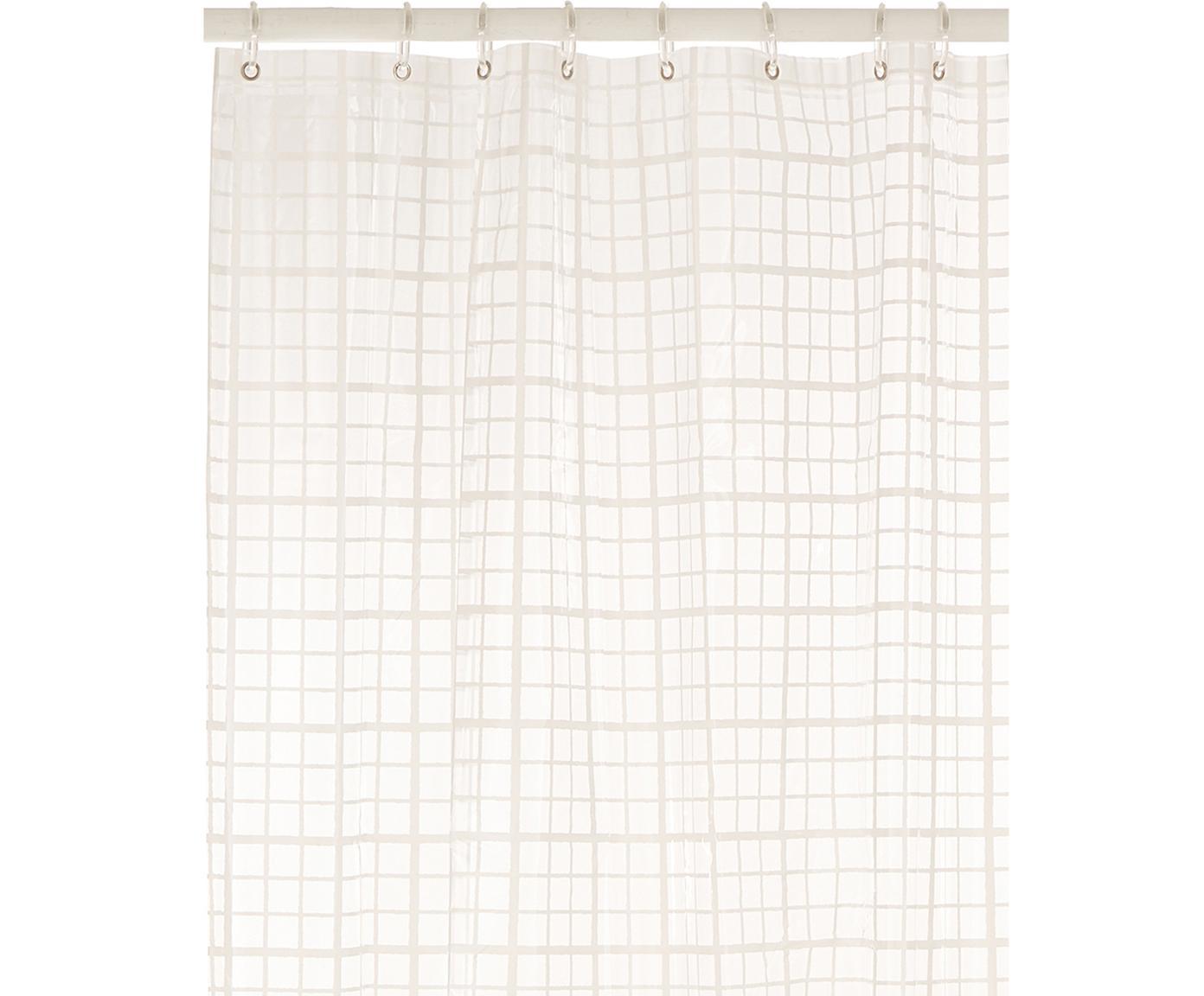 Kurzer  Duschvorhang Porto mit Karos, semi-transparent, Weiß, Grau, 180 x 180 cm