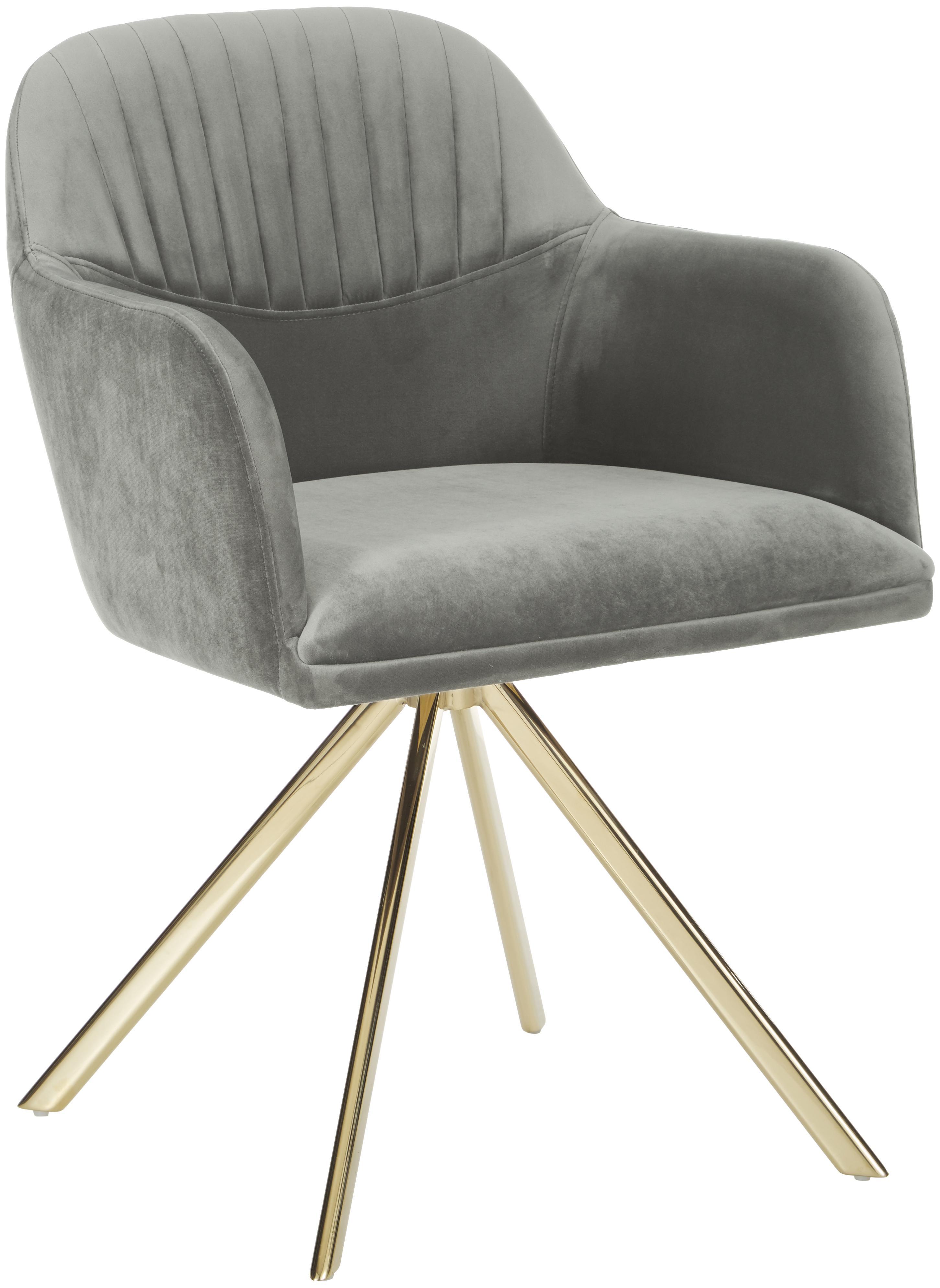 Krzesło obrotowe z aksamitu z podłokietnikami Lola, Tapicerka: aksamit (100% poliester) , Nogi: metal galwanizowany, Aksamitny szary kamienny, nogi: złoty, S 52 x G 57 cm