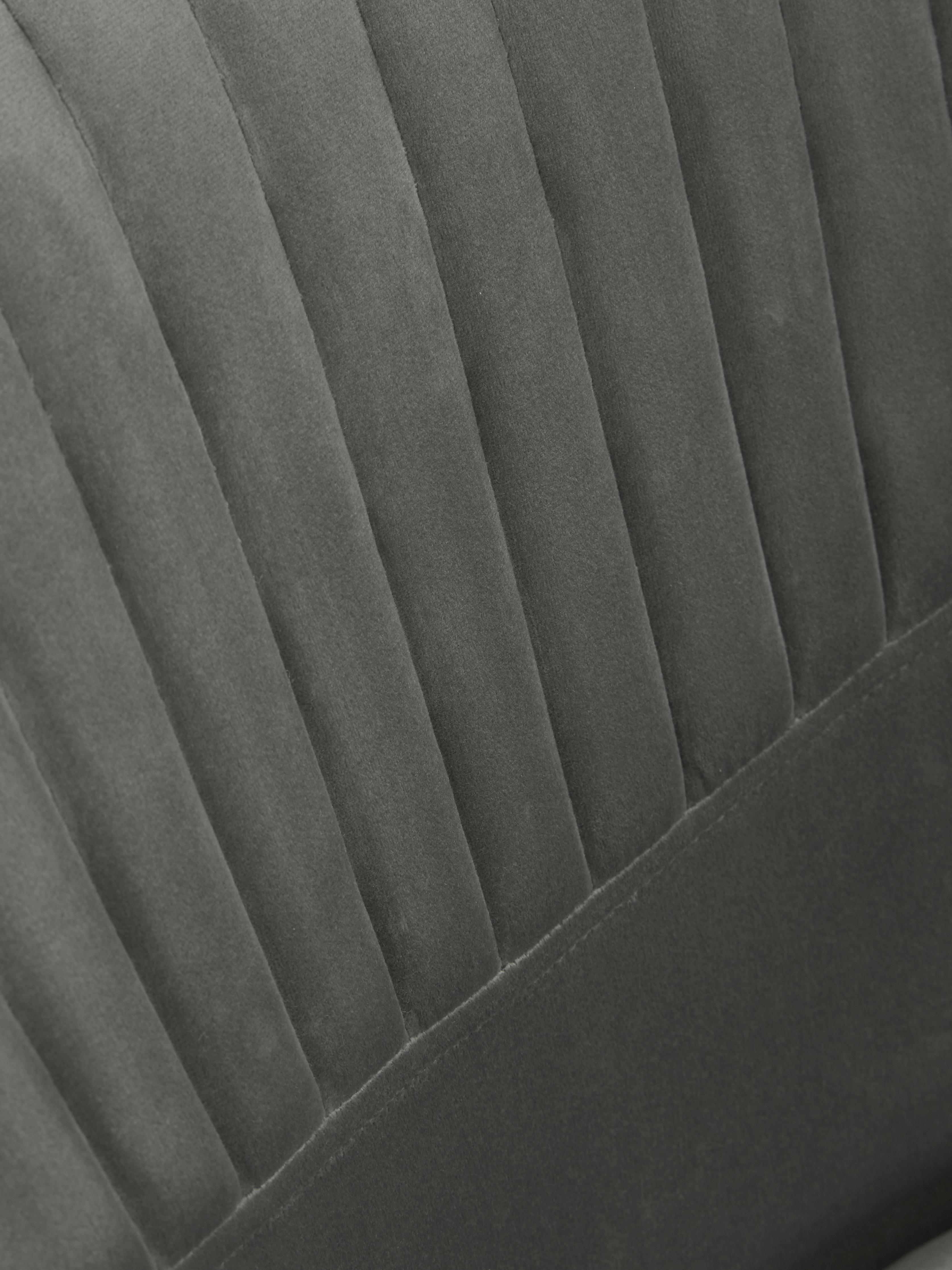 Silla giratoria con reposabrazos de terciopelo Lola, Tapizado: terciopelo (100%poliéste, Patas: metal galvanizado, Terciopelo gris, patas oro, An 52 x F 57 cm