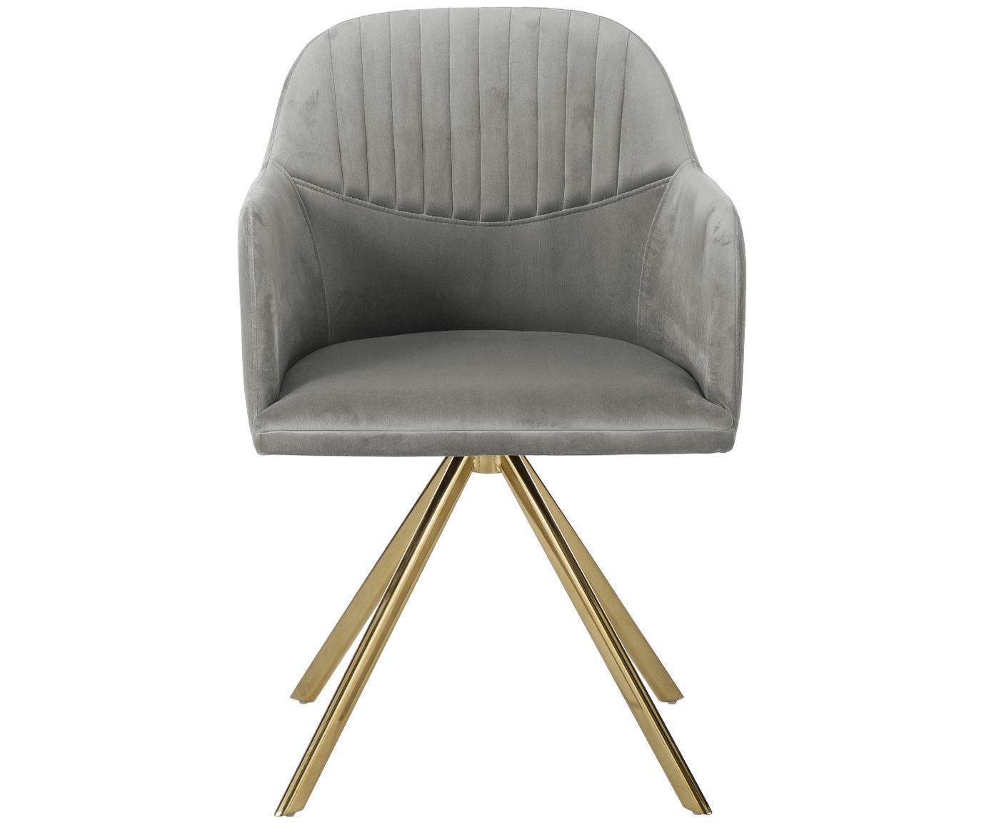 Sedia girevole in velluto con braccioli Lola, Rivestimento: velluto (100% poliestere), Gambe: metallo, zincato, Grigio, Larg. 52 x Prof. 57 cm