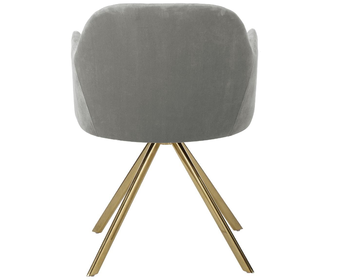 Samt-Drehstuhl Lola mit Armlehne, Bezug: Samt (100% Polyester) 50., Beine: Metall, galvanisiert, Samt Steingrau, Beine Gold, B 55 x T 52 cm