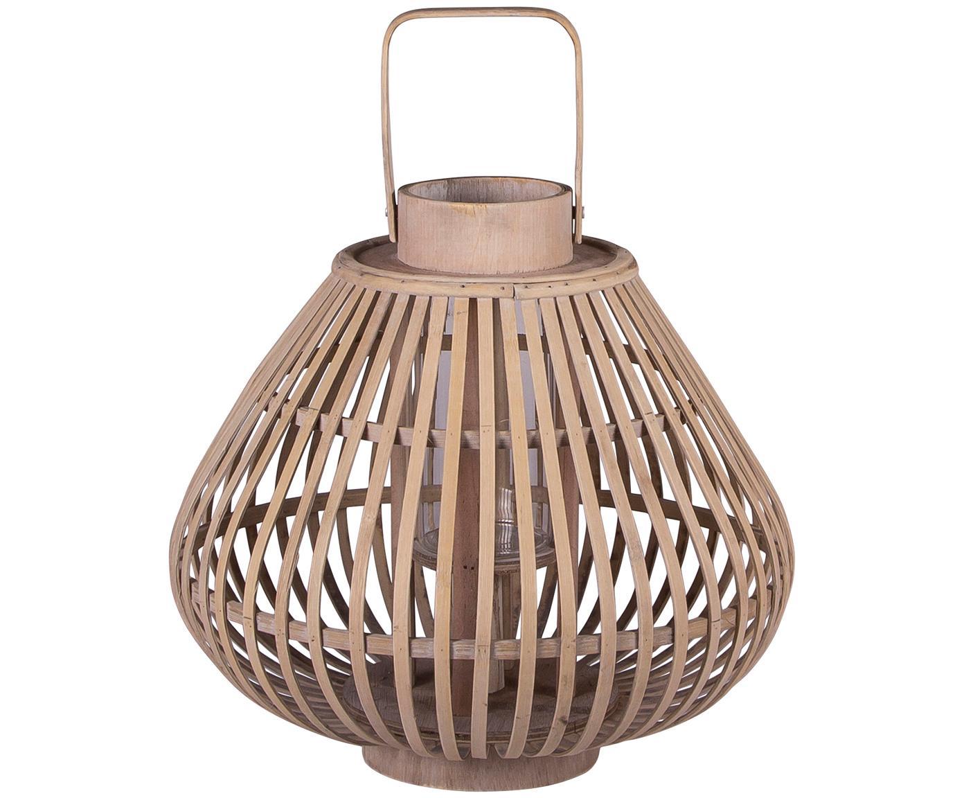 Portacandela Sahara, Bambù, Corpo: legno di bambù<br>Inserto in vetro: trasparente, Ø 32 x Alt. 28 cm