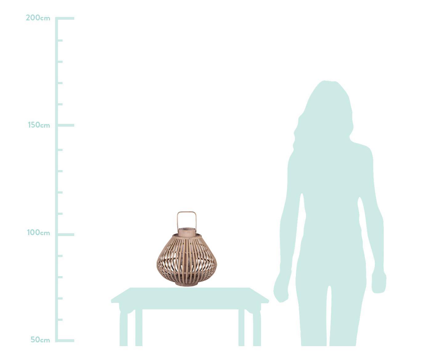 Świecznik Sahara, Drewno bambusowe, Rama: bambus Szklana wkładka: transparentny, Ø 32 x W 28 cm