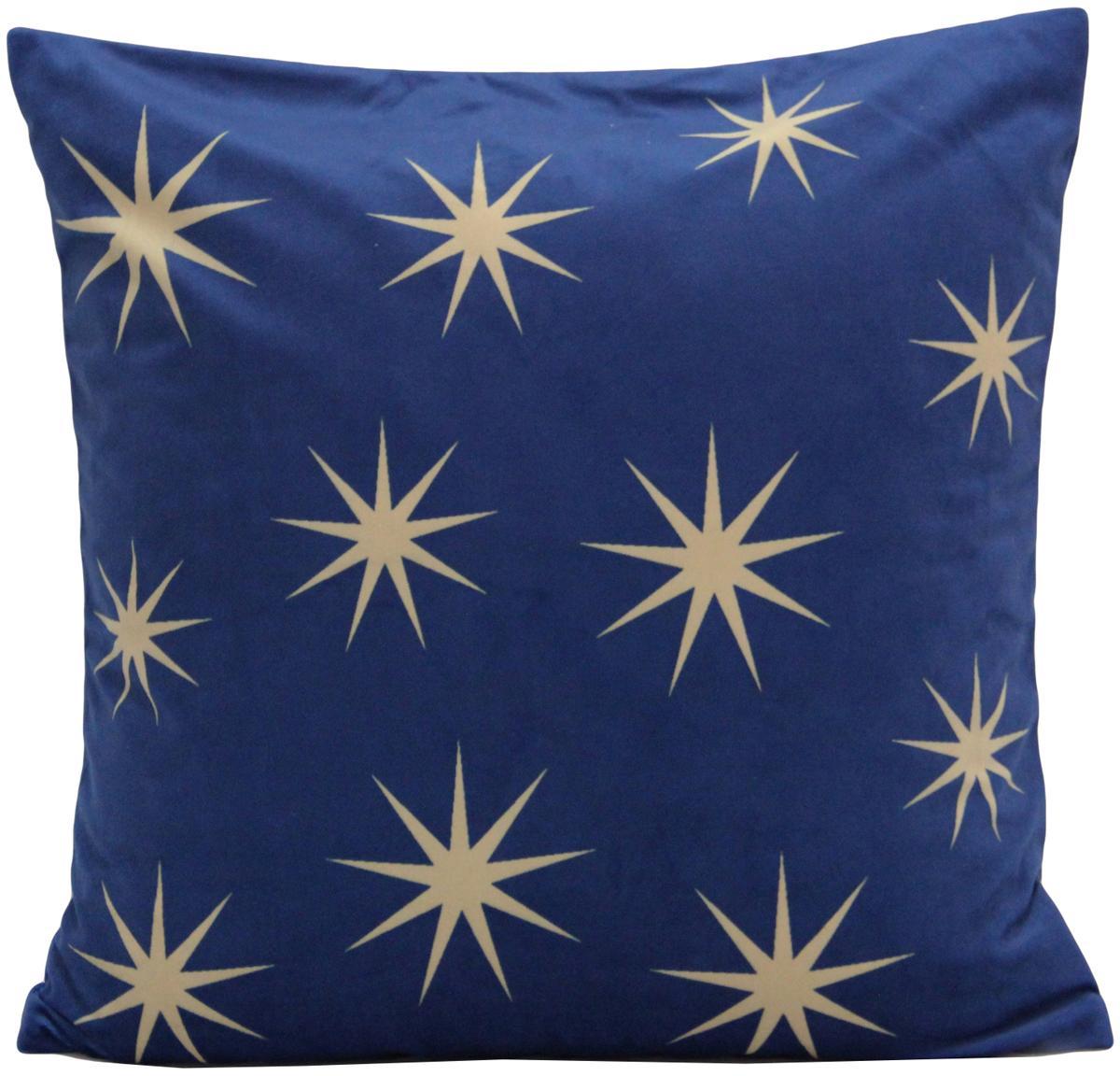 Samt-Kissenhülle Stars mit goldenem Sternen Print, Polyestersamt, Blau, Beige, 45 x 45 cm