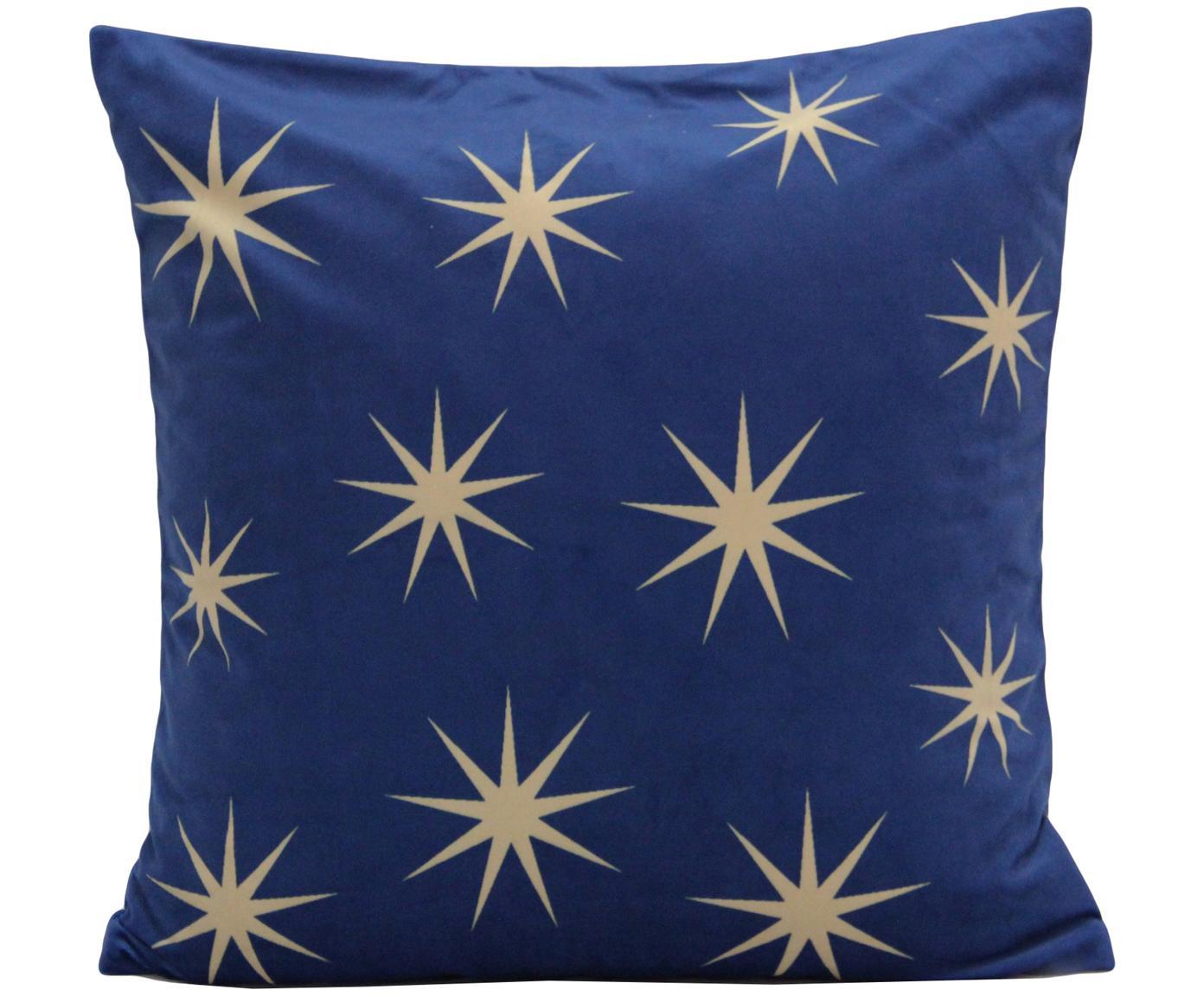 Federa arredo in velluto con ricami a stelle Stars, Velluto di poliestere, Blu, beige, Larg. 45 x Lung. 45 cm